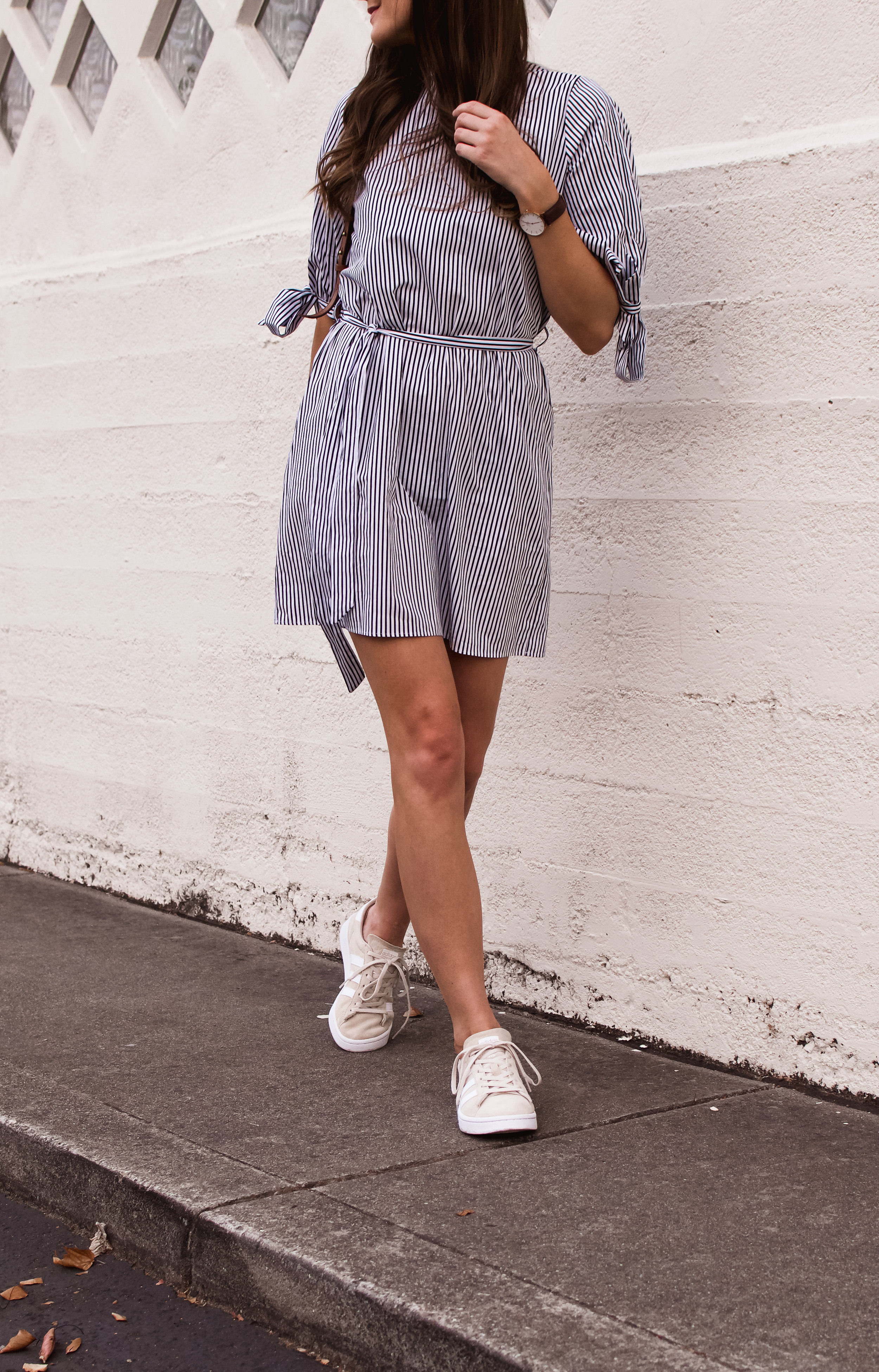 dress and sneakers