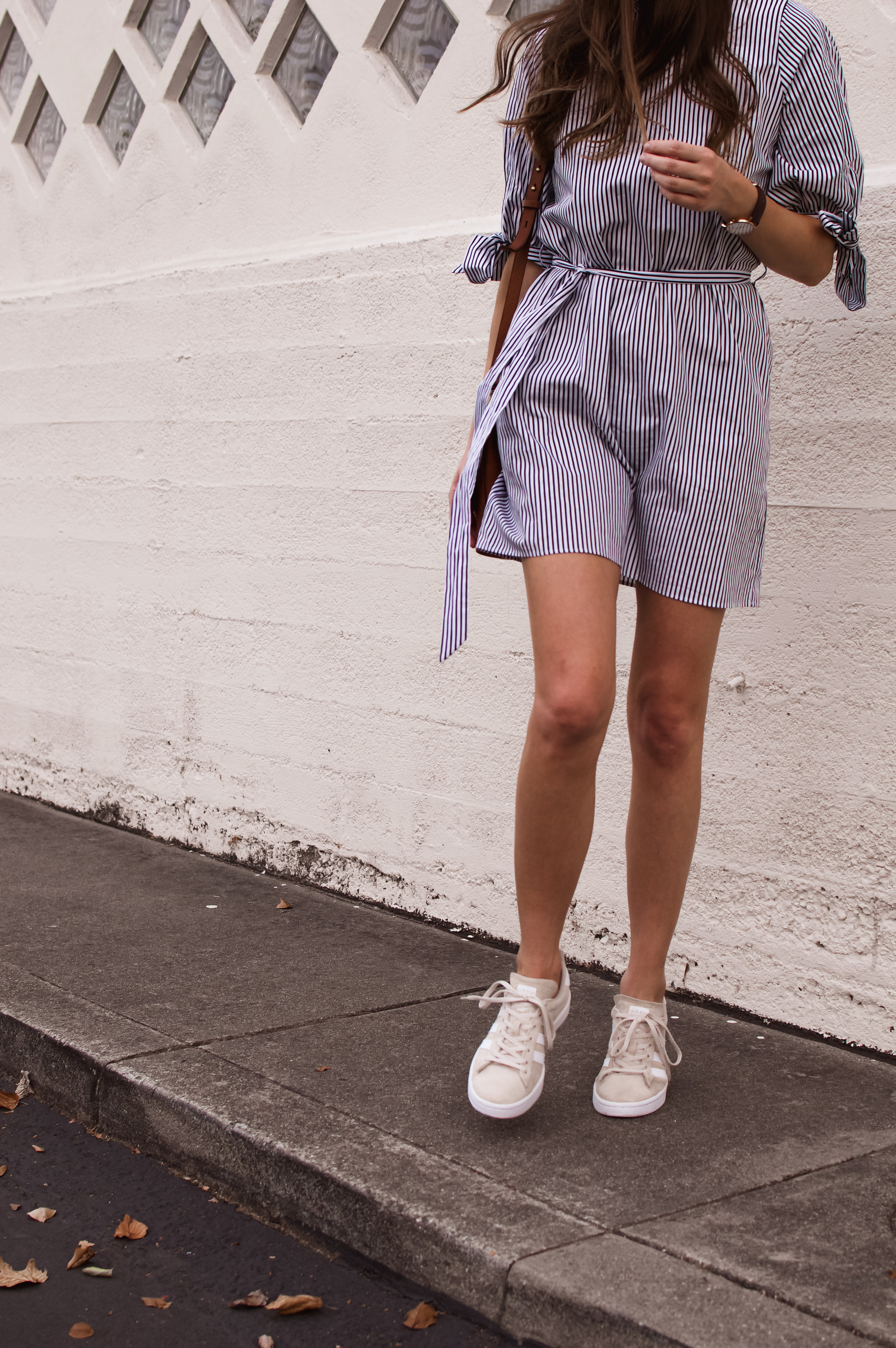 casual dress and sneakers outfit