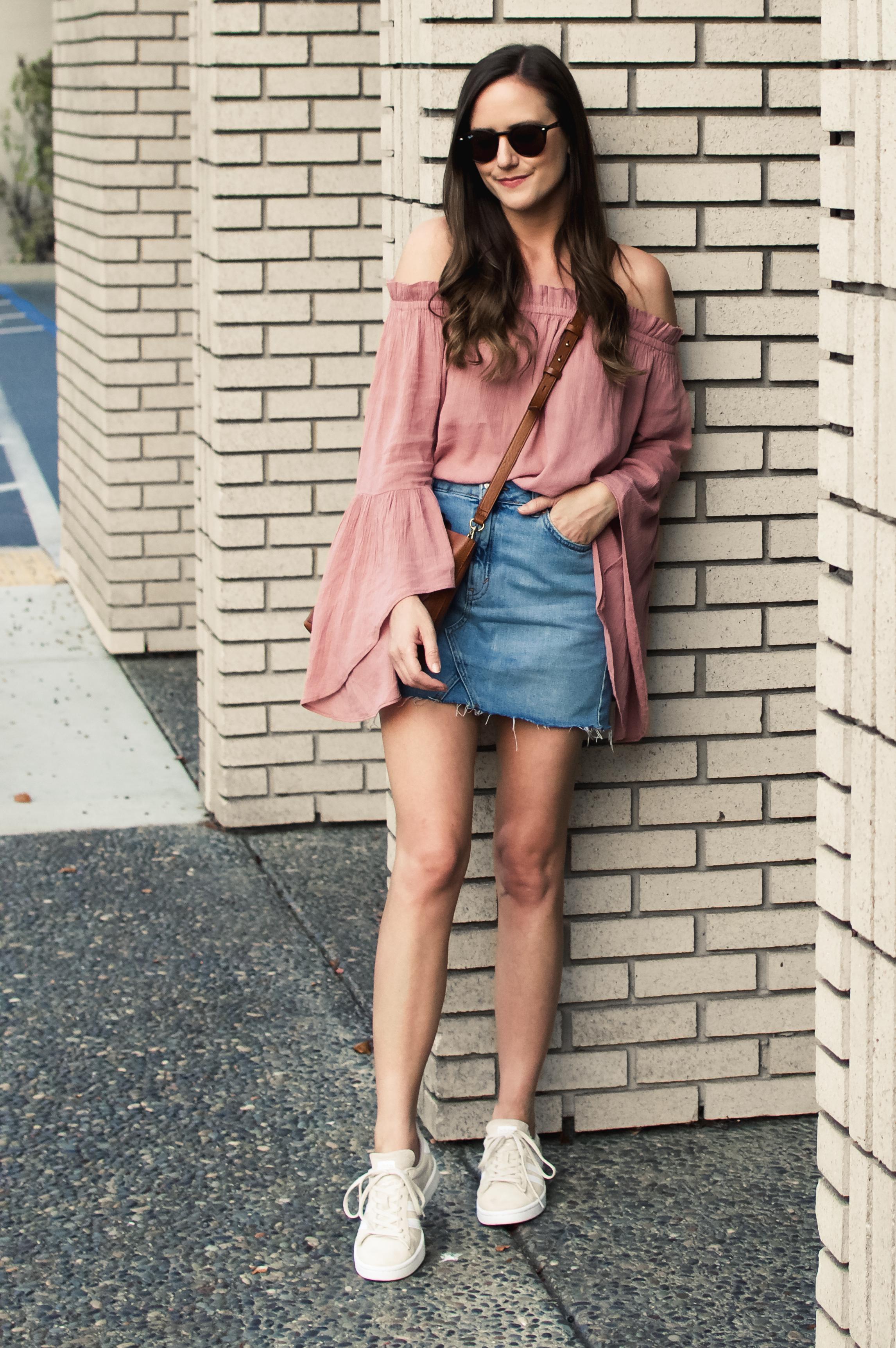 Shop the Look Below.  Nordstrom Top  |  Topshop Skirt  |  Adidas Sneakers  |  Madewell Bag