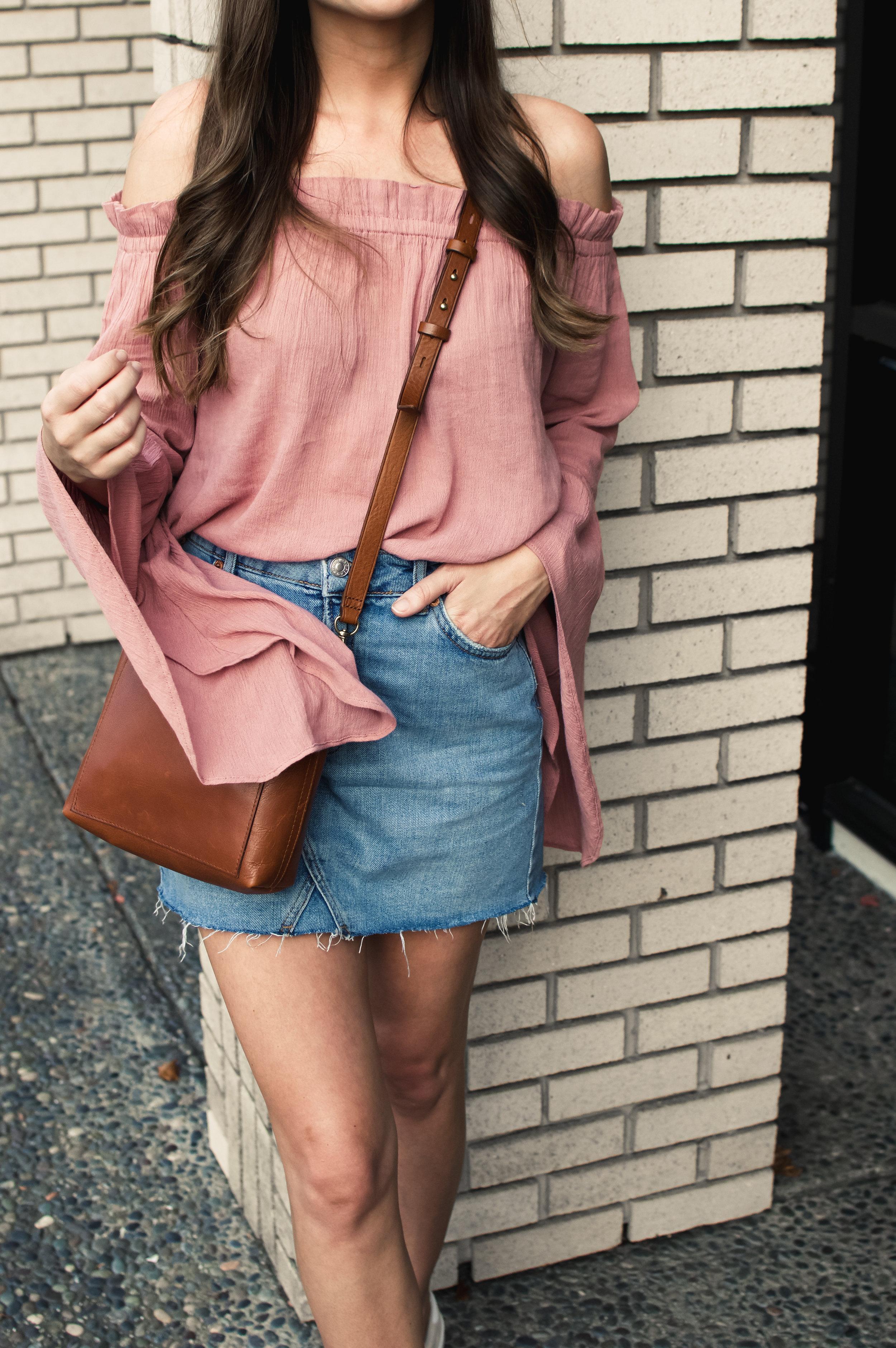 denim skirt and bell sleeve top