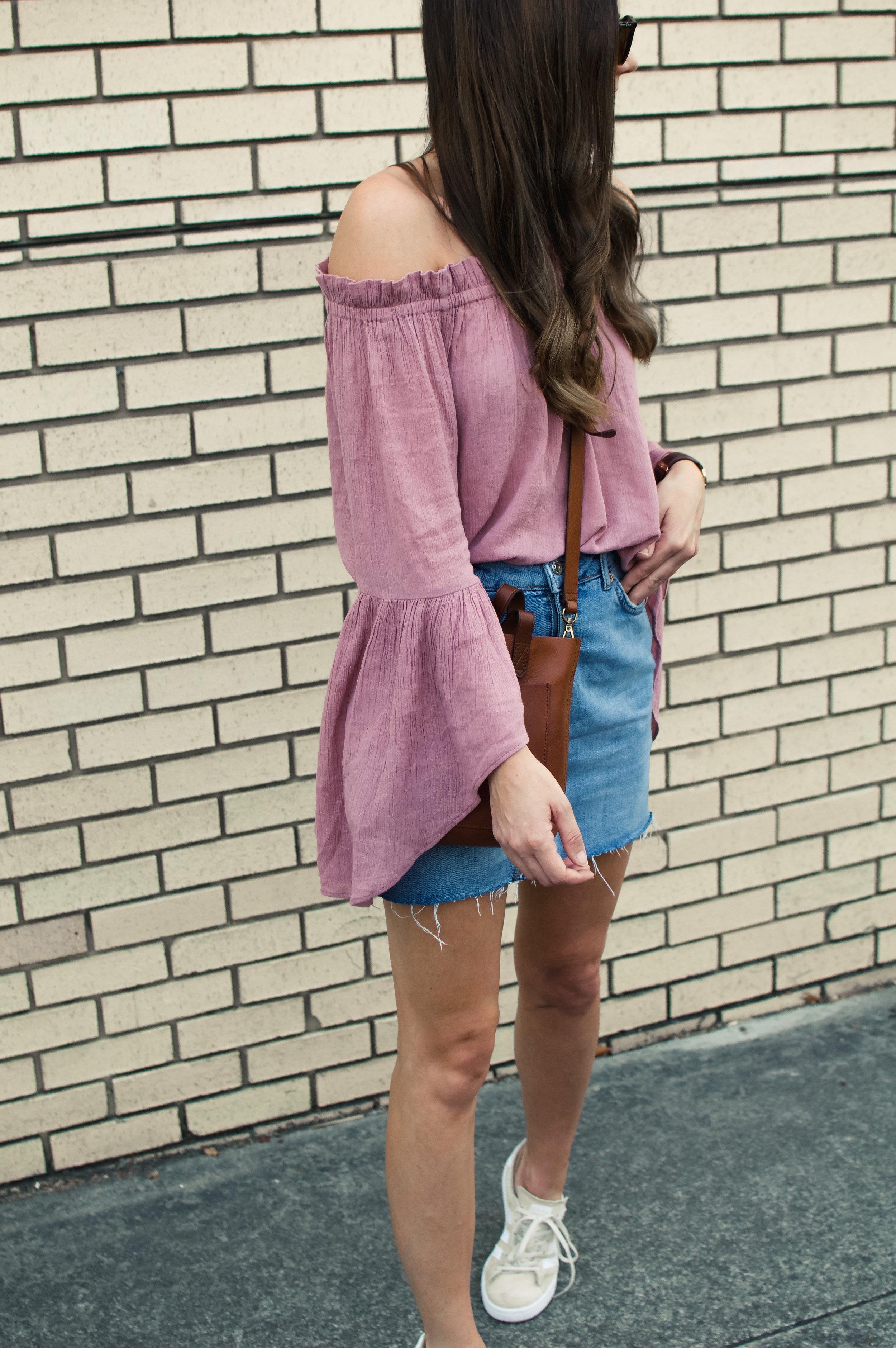 denim skirt and sneakers
