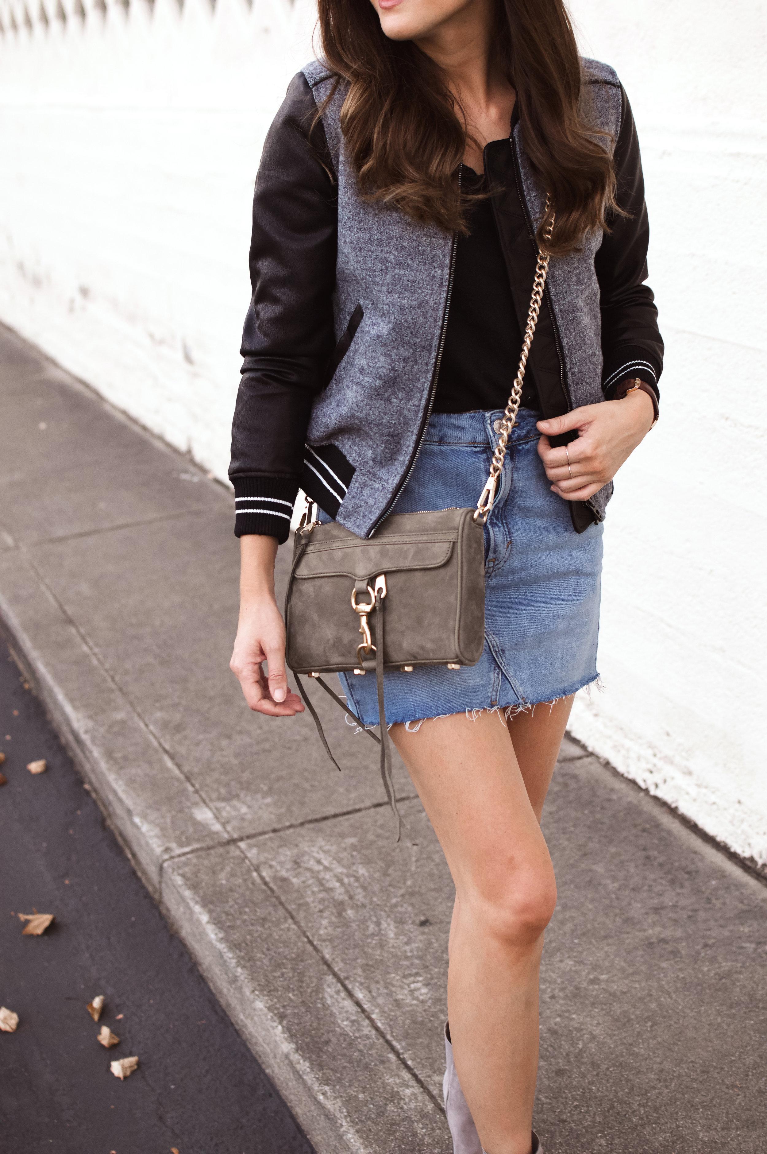 bomber jacket and denim skirt