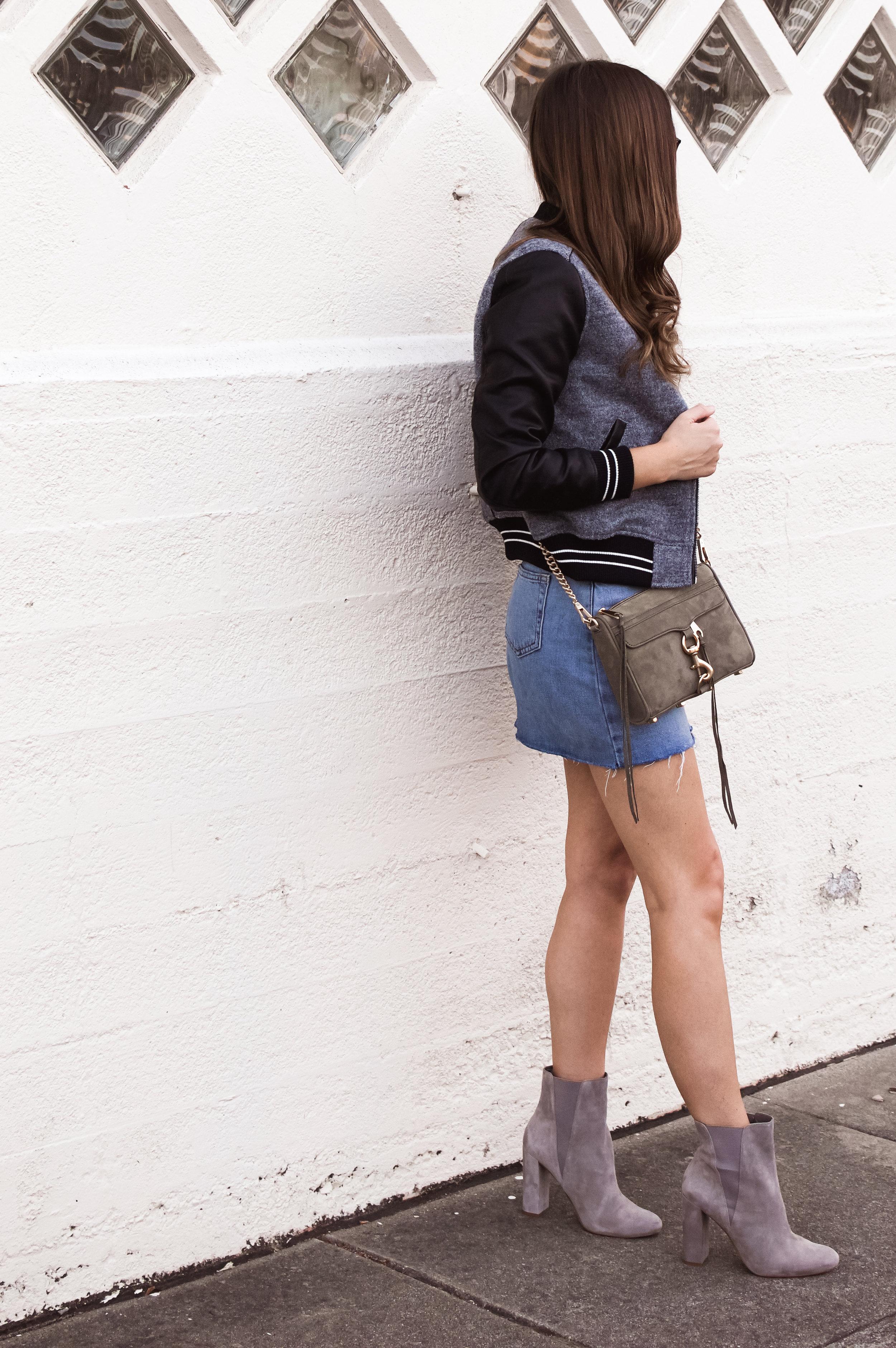 denim skirt and bomber jacket