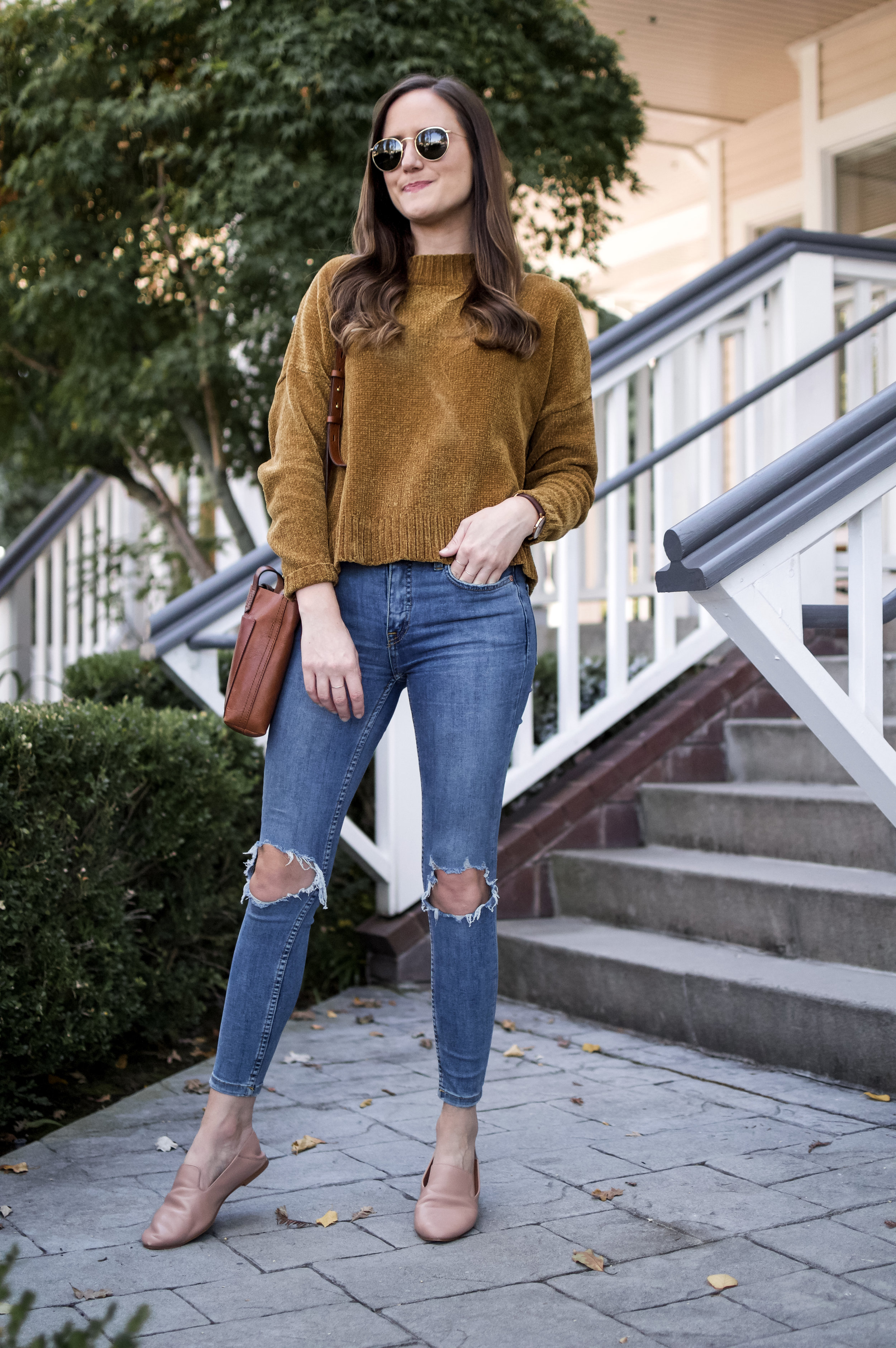 Shop the Look Below.  Nordstrom BP. Sweater  |  Free People Jeans  |  Halogen Flats  |  Madewell Tote |  Ray-Ban Sunglasses