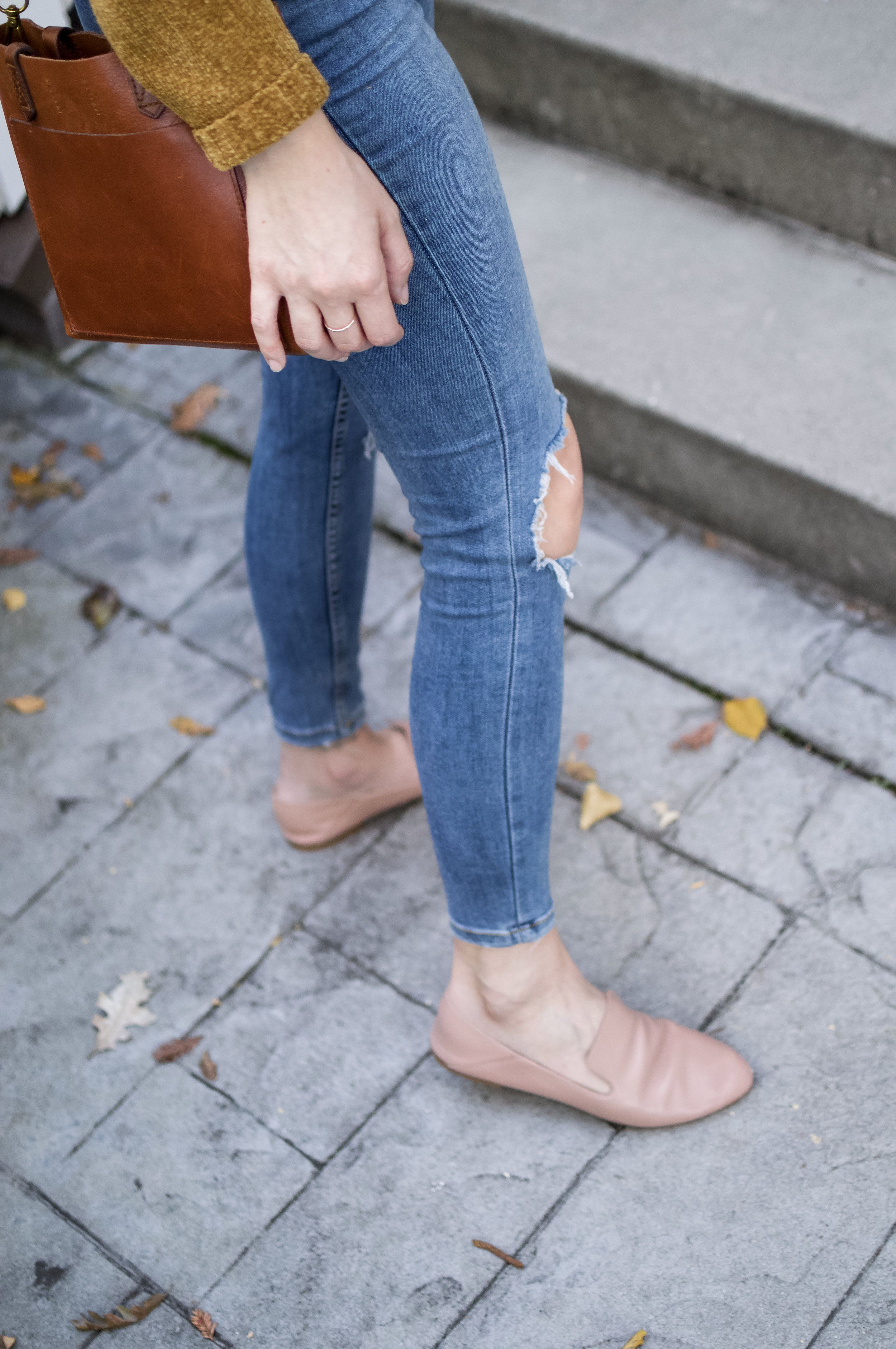 nude collapsible heel loafers