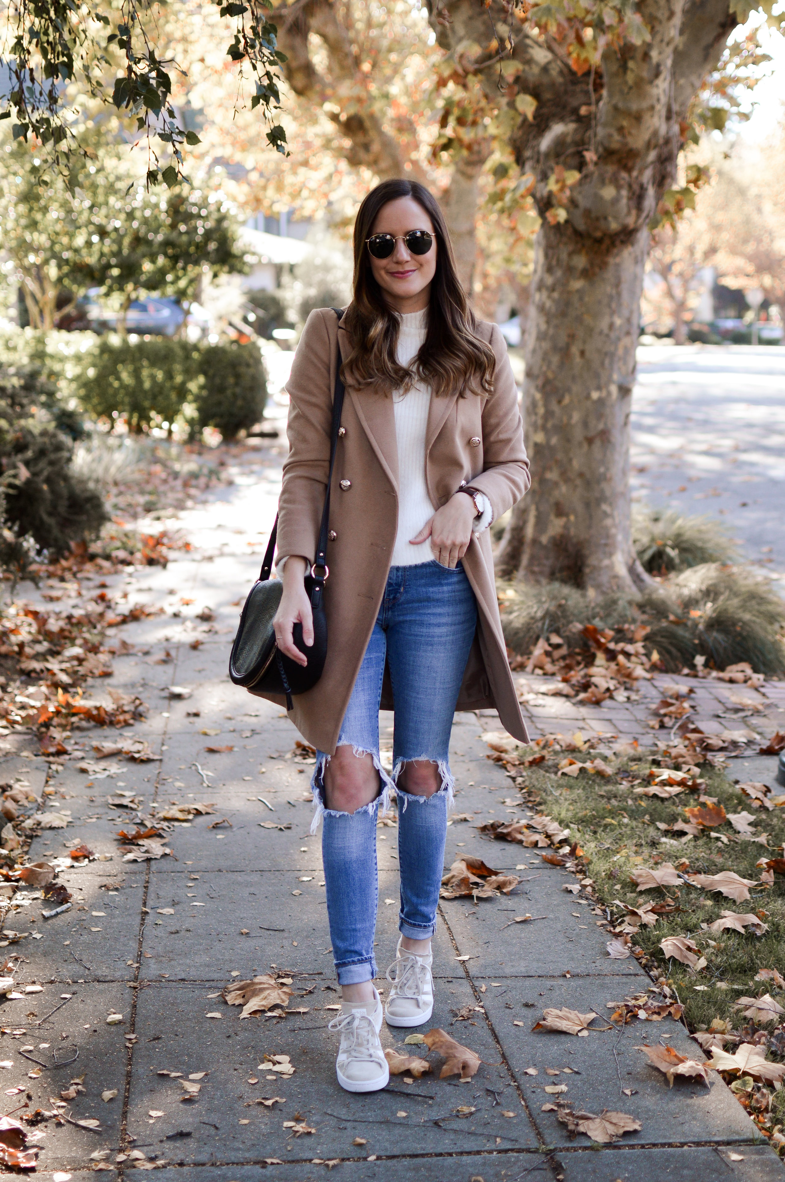 Shop the Look Below.  Topshop Coat     Nordstrom Sweater     Adidas Sneakers     Ray-Ban Sunglasses     Sole Society Bag