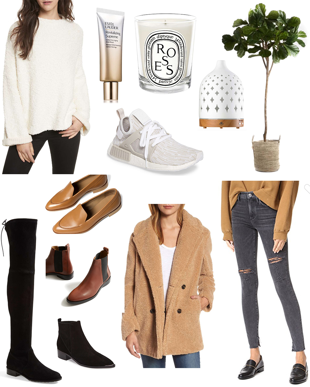 Free People Sweater  |  Stuart Weitzman Boots  |  Everlane Chelsea Boot  |  Marc Fisher Chelsea Boot  |  Everlane Loafers  |  Kensie Coat  |  AG Jeans  |  Adidas Sneakers  |  World Market Faux Fig  |  Diptyque Candle  |  Serene House Diffuser  |  Estee Lauder Mask