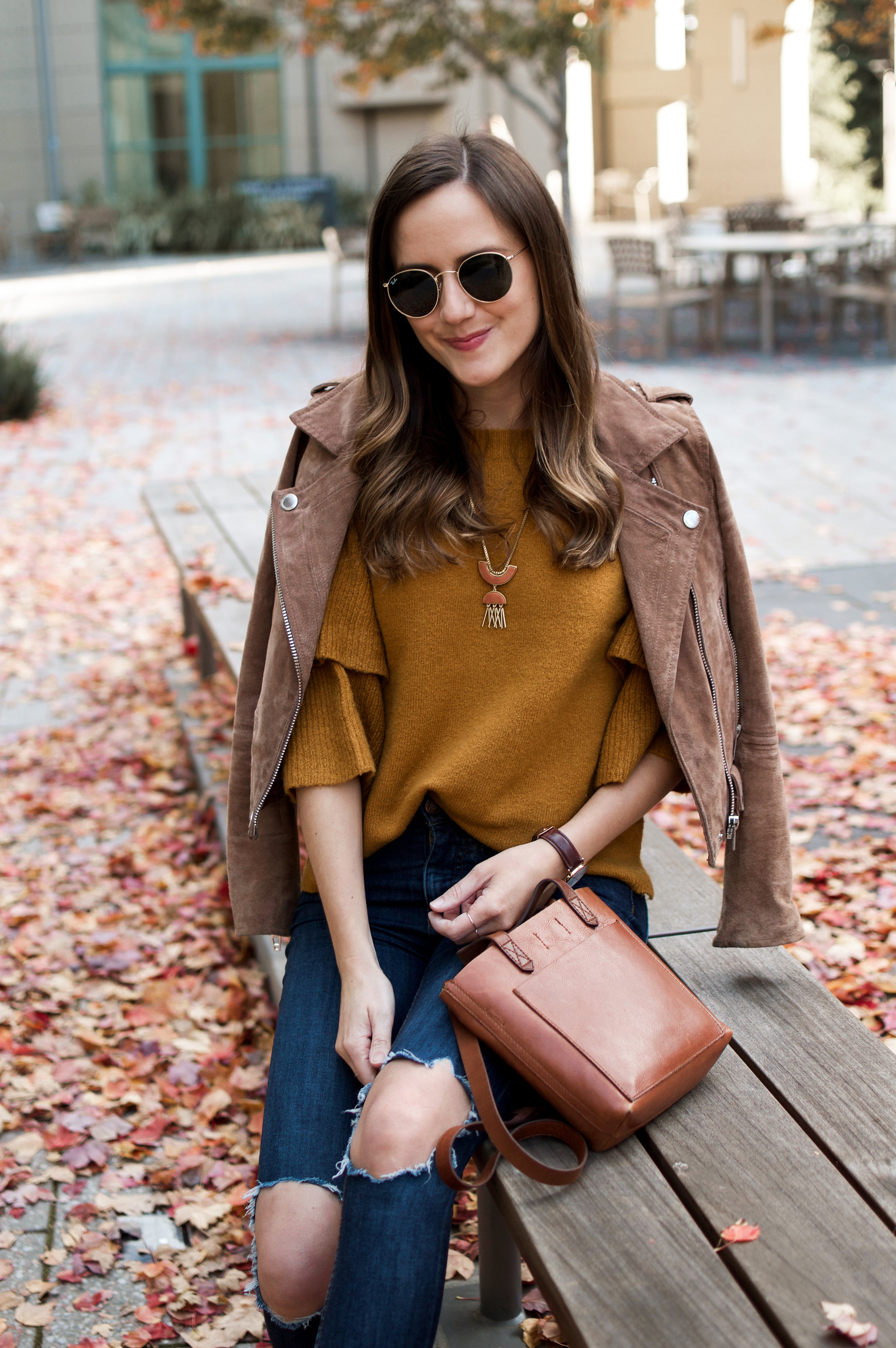 Mustard Sweater Brown Suede Jacket