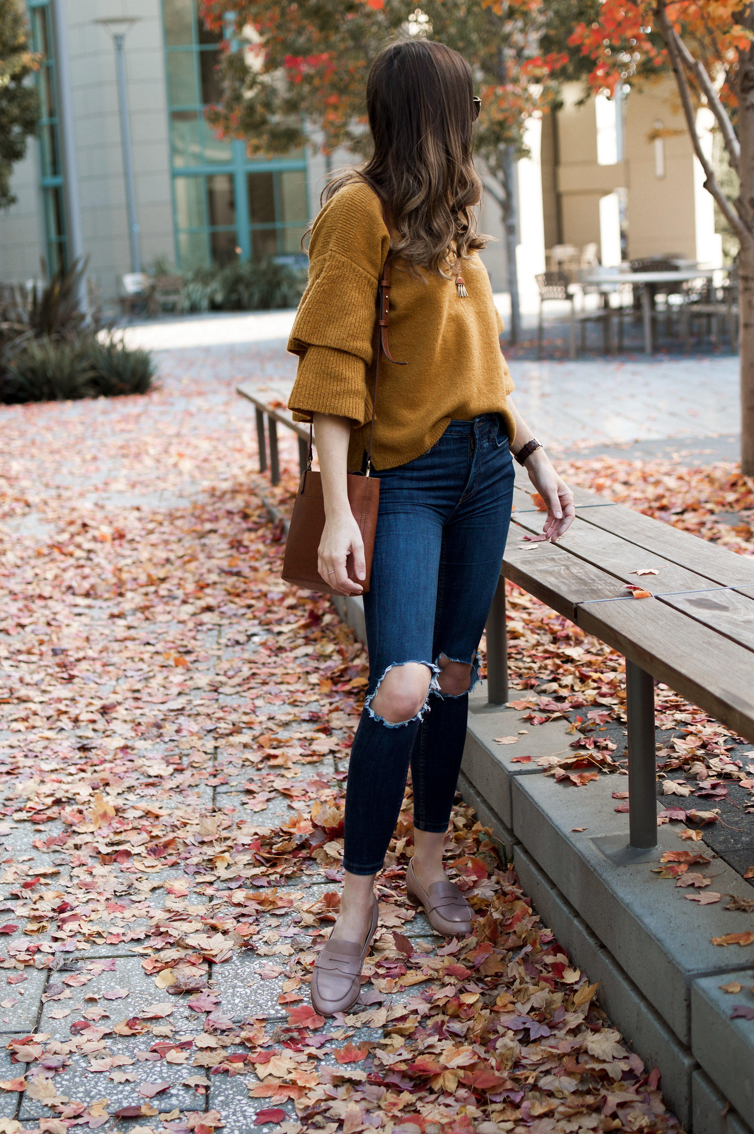Shop the Look Below.  Madewell Sweater  |  Free People Jeans  |  Franco Sarto Flats |  BlankNYC Jacket  |  Madewell Bag  |  Ray-Ban Sunglasses  |  Madewell Necklace