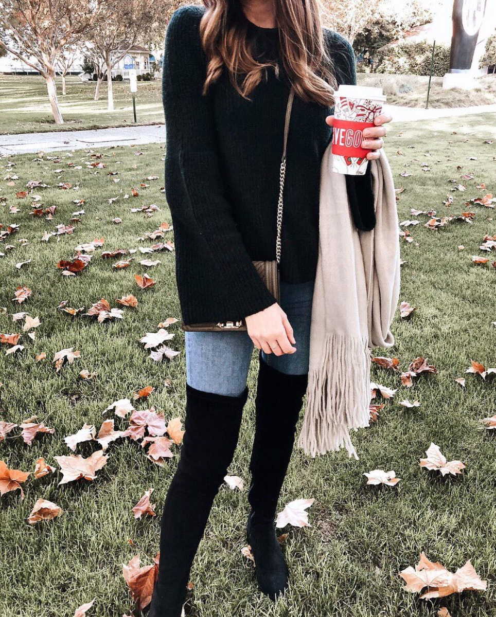 Steve Madden Boots  |  Madewell Sweater  |  Free People Scarf
