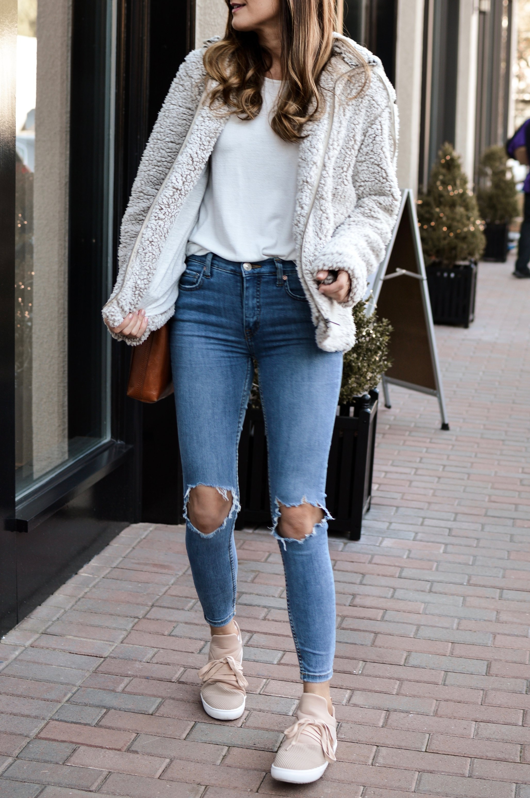 teddy bear coat and sneakers