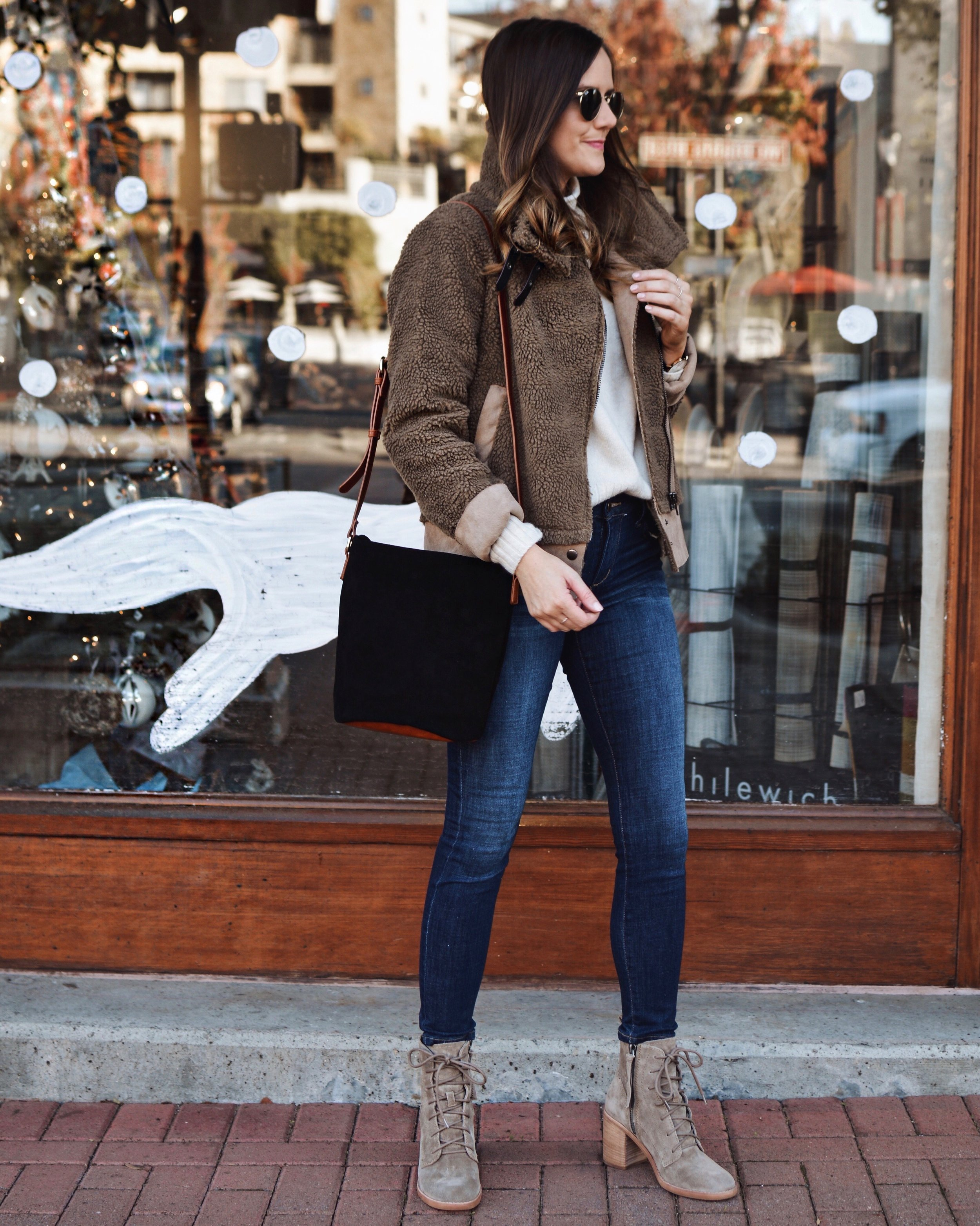 Shop the Look Below.  Nordstrom Jacket  in stock  HERE  |  Madewell Sweater  |  Joe's Jeans  |  Dolce Vita Boots  |  Sole Society Bag  |  Ray-Ban Sunglasses