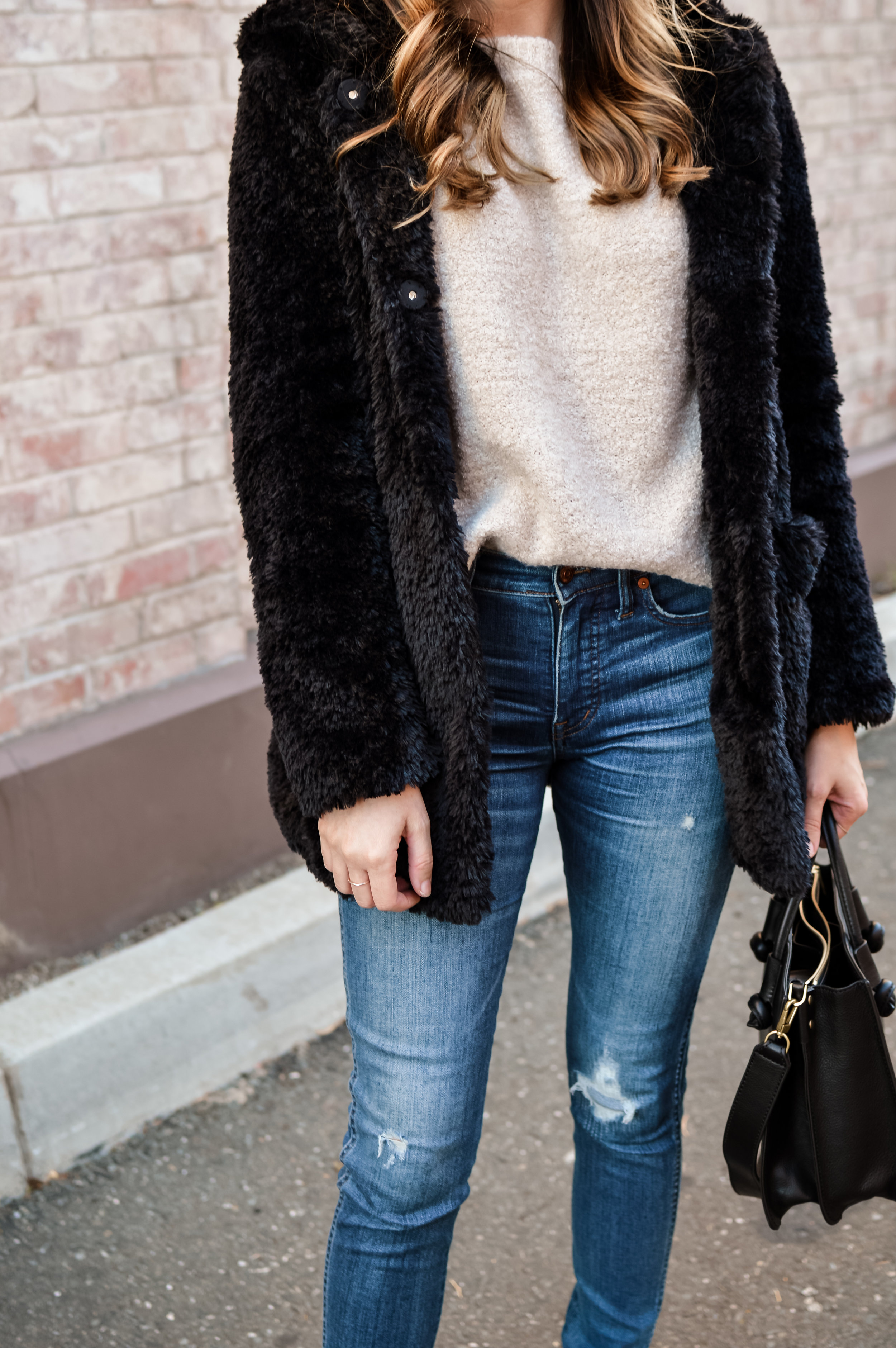 black teddy coat outfit