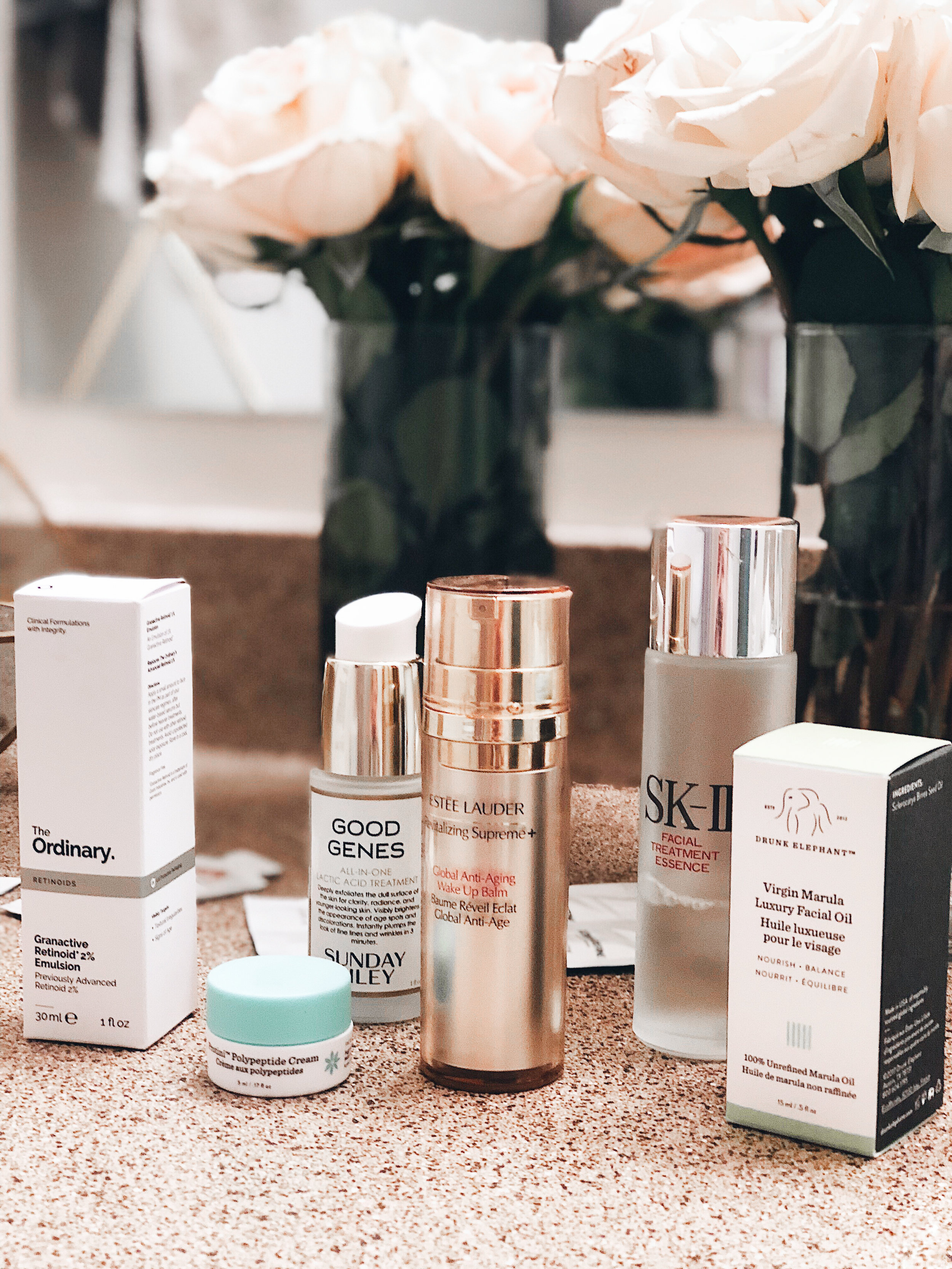 The Ordinary Granactive Retinoid 2% Emulsion  |  Drunk Elephant Protini Polypeptide Cream  |  Sunday Riley Good Genes  |  Estee Lauder Global Anti-Aging Wake Up Balm  |  Sk-II Facial Treatment Essence  |  Drunk Elephant Virgin Marula Luxury Facial Oil