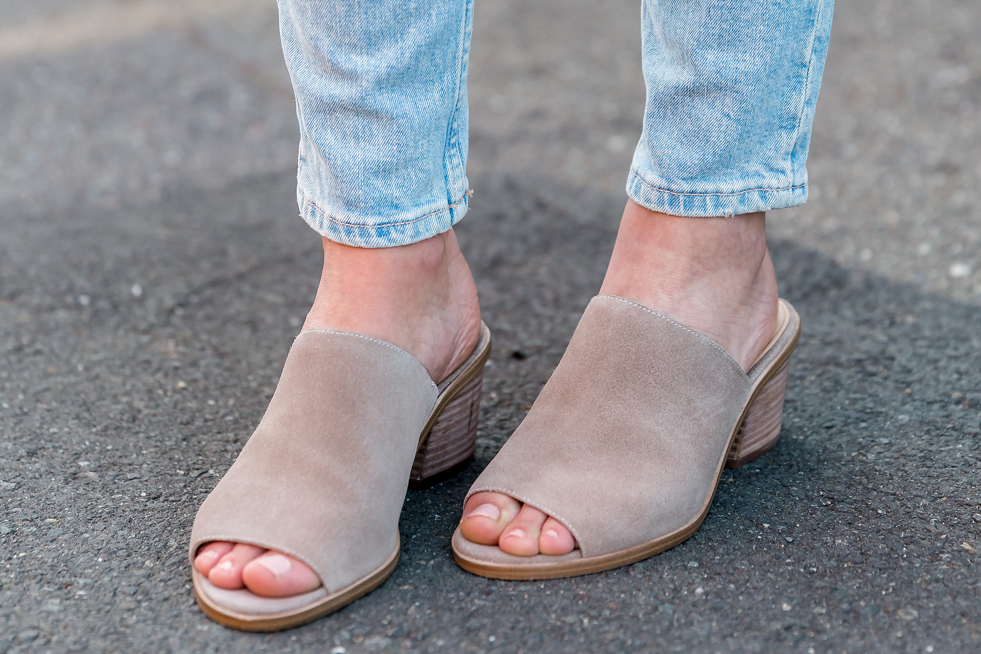 taupe mule sandals