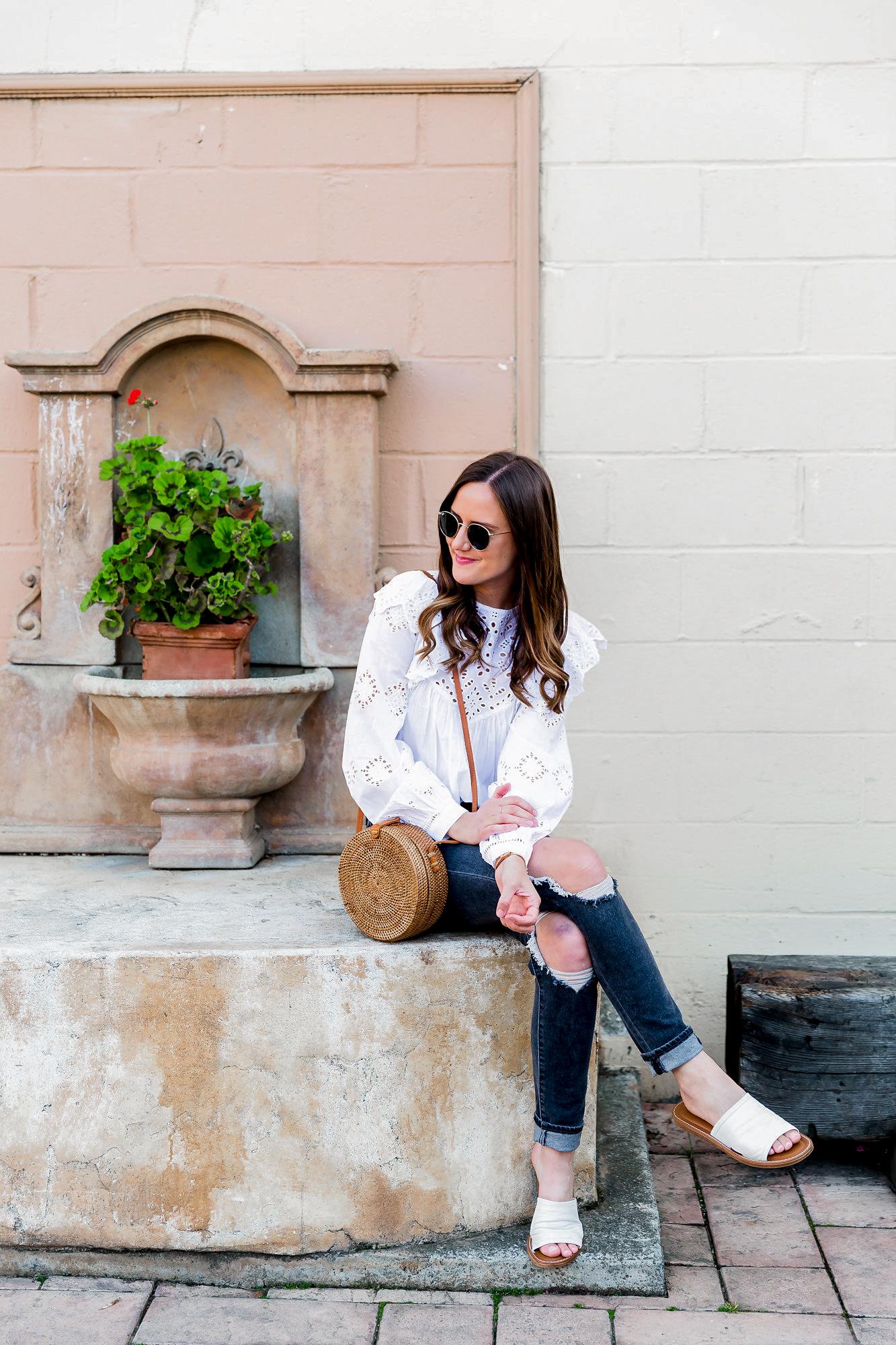 Shop the Look Below. HM Top - see similar styles below |  Levi's Jeans  |  Nordstrom Sandals  |  Kinilush Bag  |  Daniel Wellington Watch  c/o | Ray-Ban Sunglasses