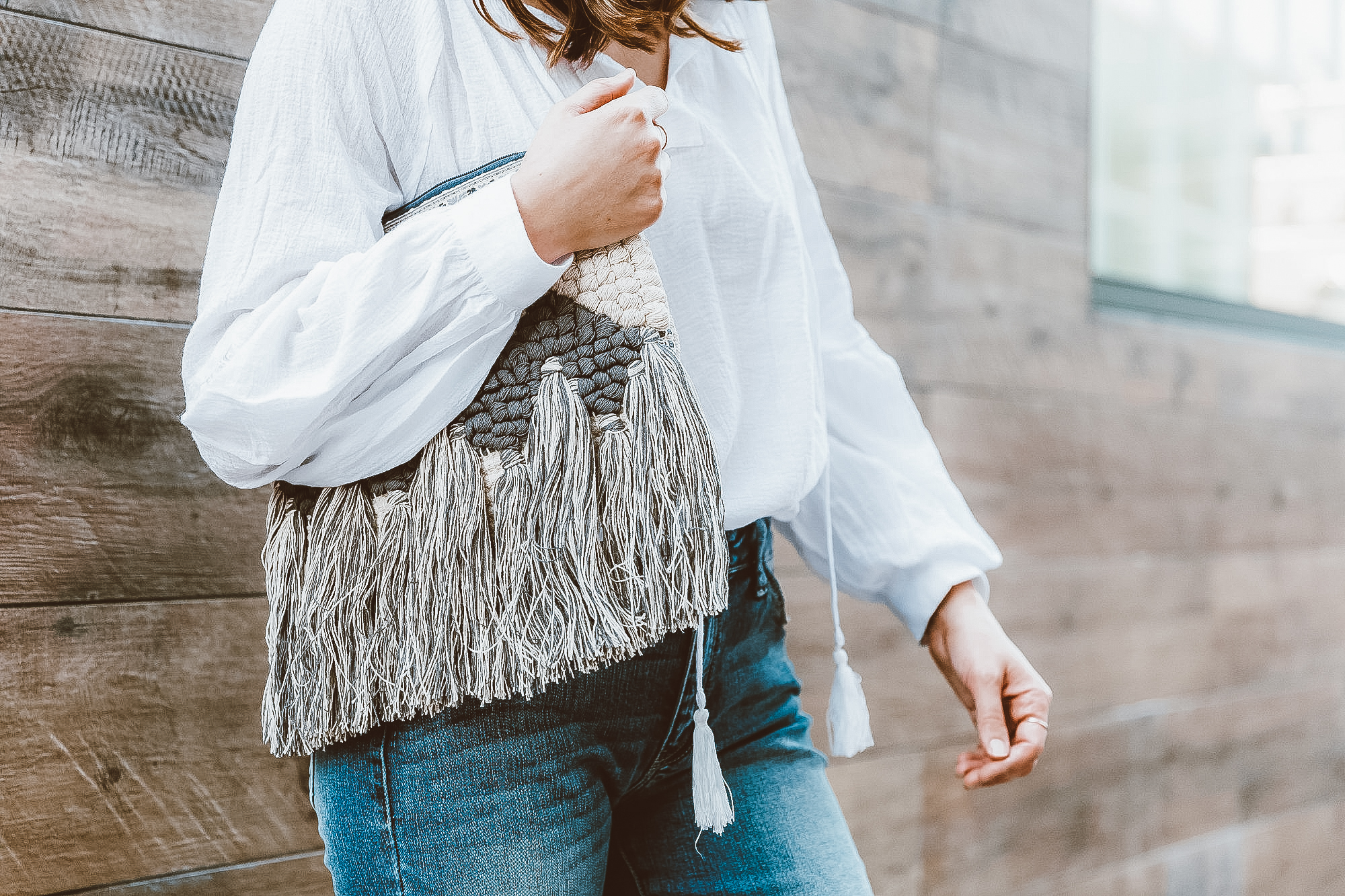 blue boho fringe clutch