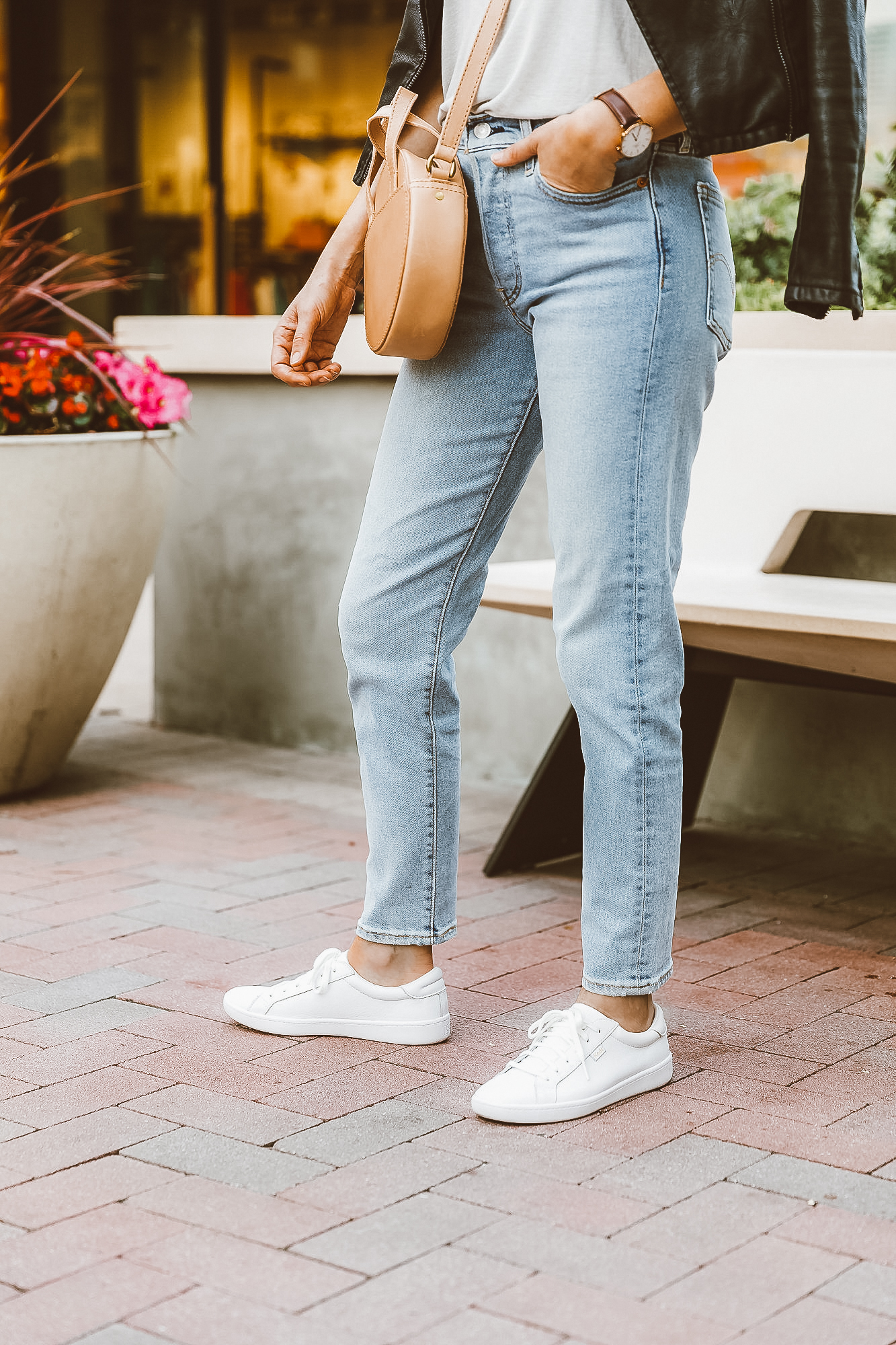 jeans and white sneakers