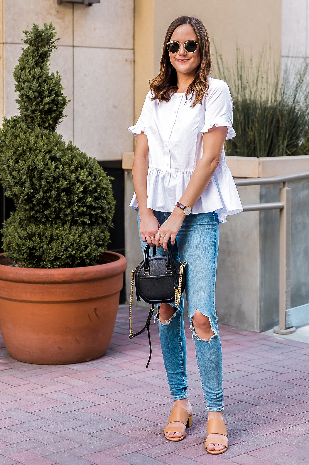 classic style white top and jeans