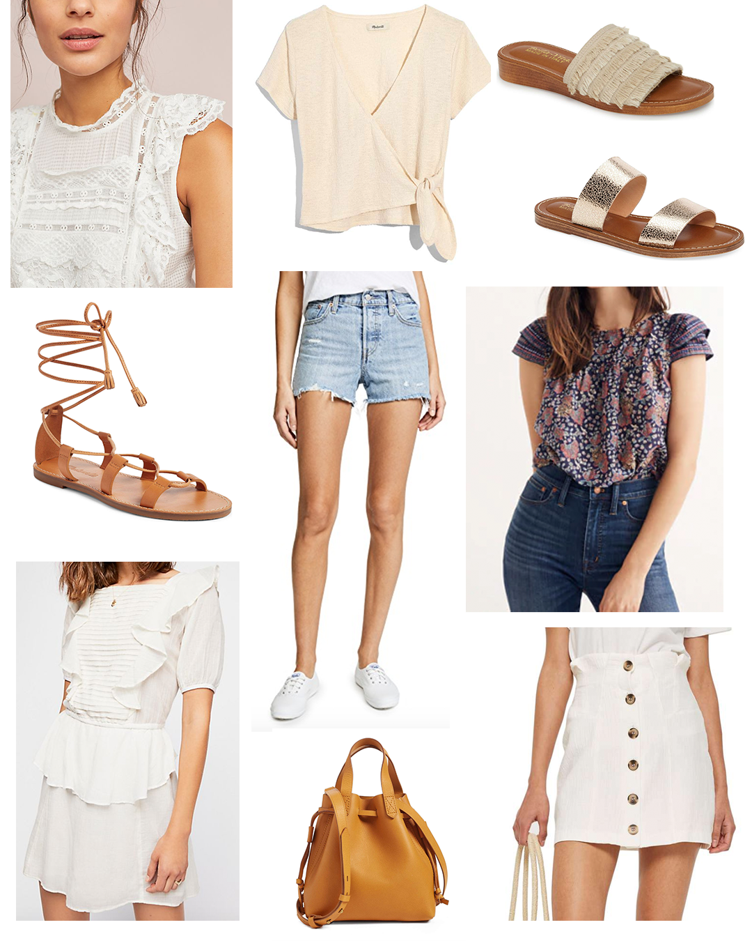From left to right.  Anthropologie Top  |  Madewell Tee  |  Bella Vita Slides  |  Bella Vita Sandals  |  Madewell Lace-Up Sandals  |  Levi's Shorts  |  Madewell Top  |  Free People Dress  |  Madewell Bag  |  Nordstrom Skirt