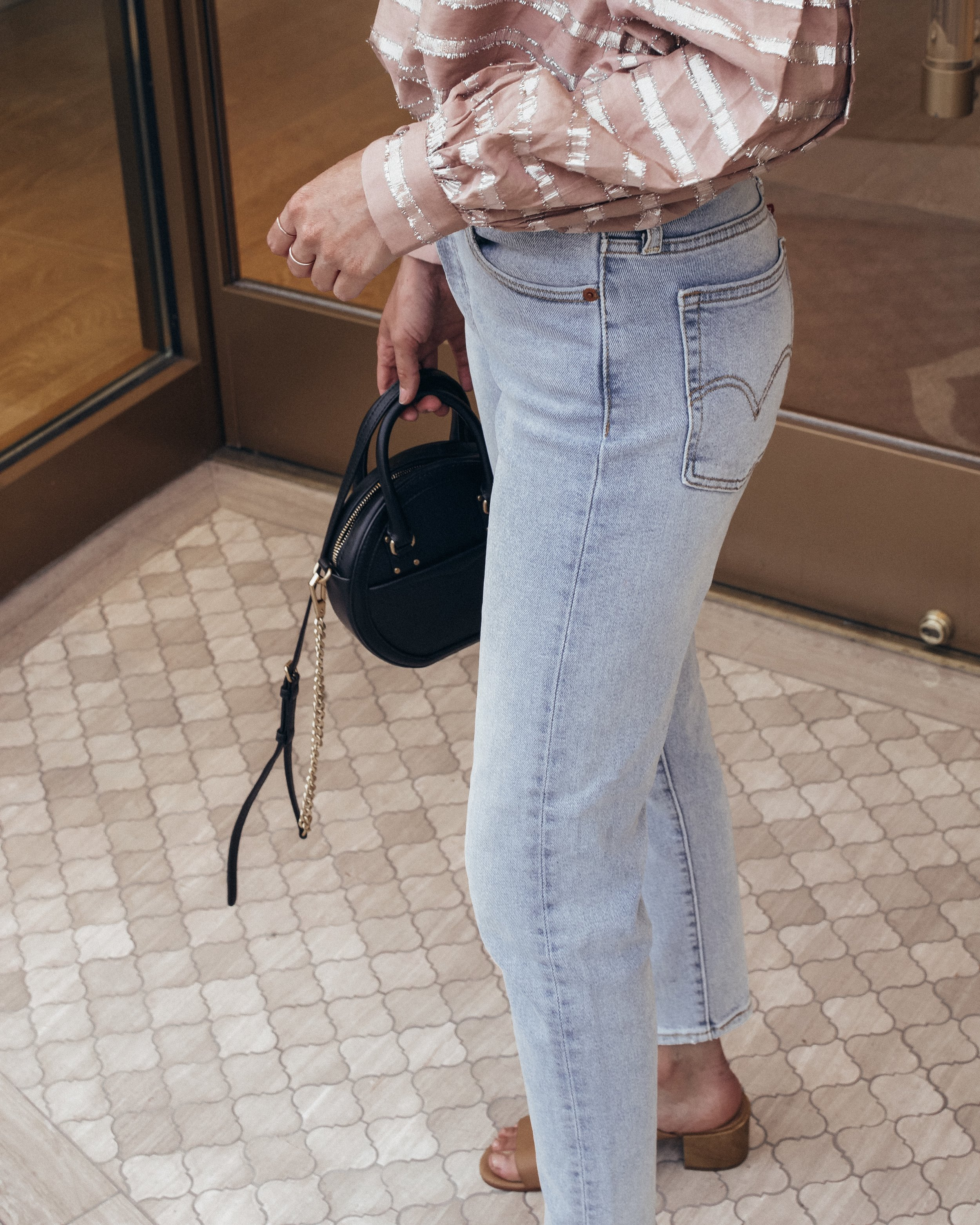 "flattering skinny ""mom jeans."" sized UP!"