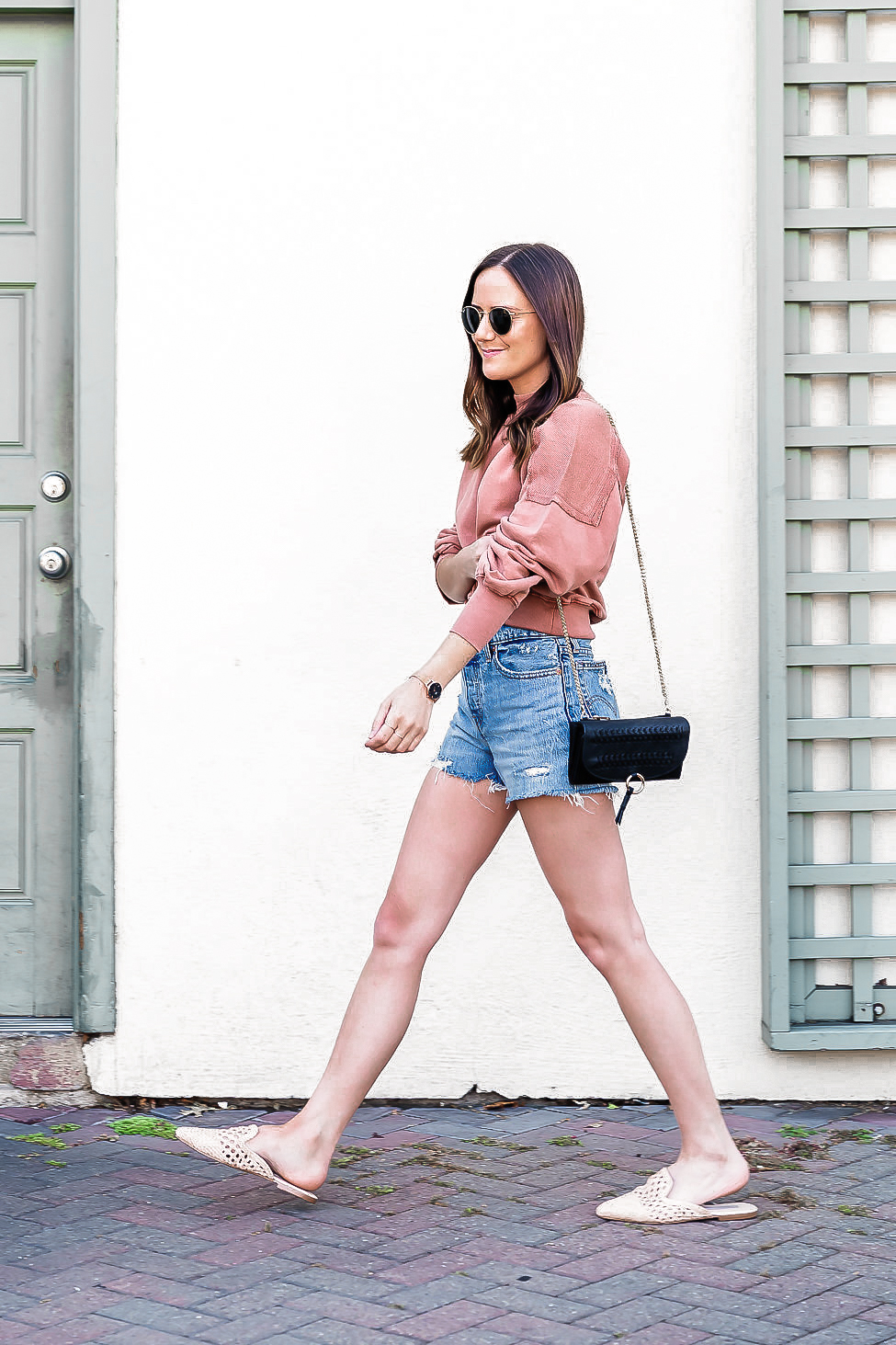 Shop the Look Below.  Free People Pullover  |  Levi's Shorts  |  Nordstrom Shoes  |  Free People Bag  |  Ray-Ban Sunglasses
