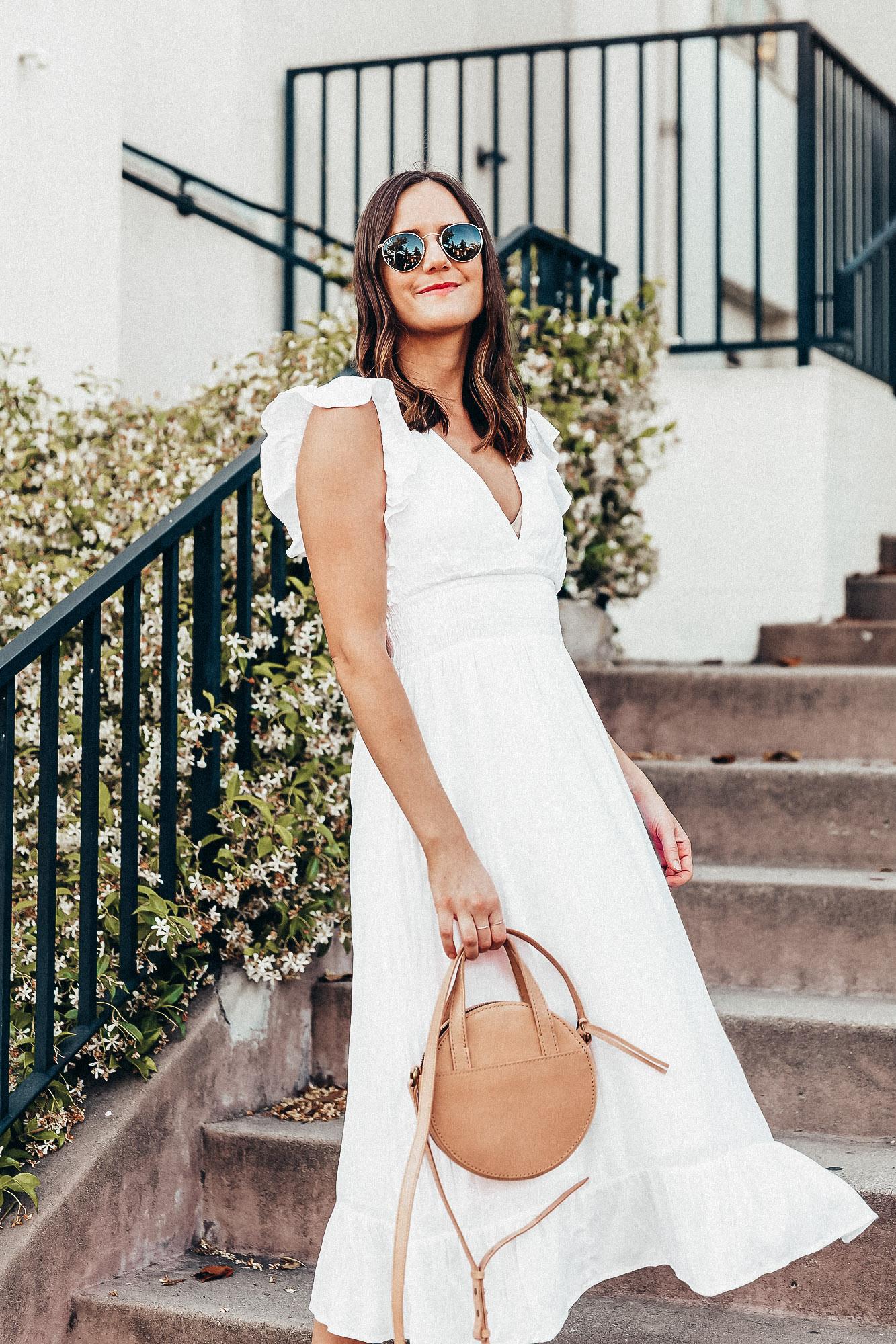 white ruffle midi dress
