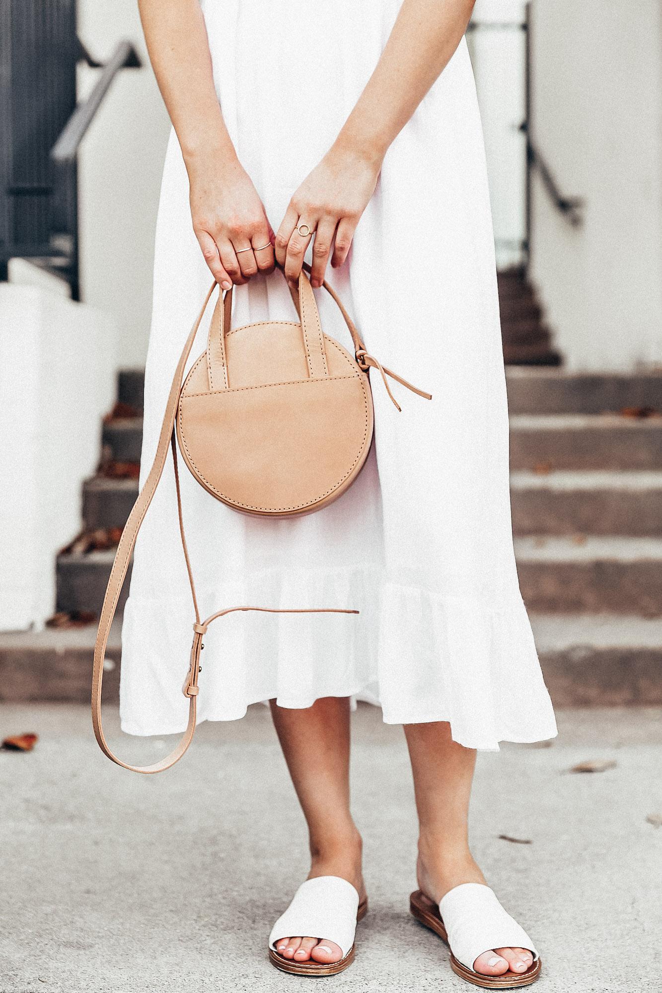 white midi dress and white slides