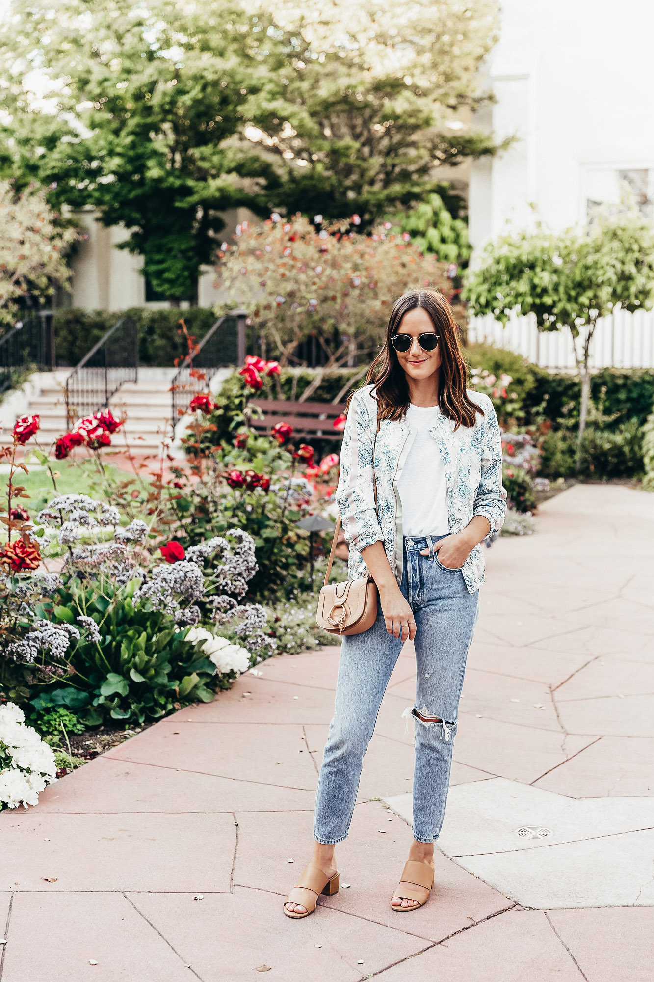 The Details.  Tart Collections Jacket  |  Free People Tank  |  Levi's Jeans  |  Madewell Sandals  |  See by Chloe Bag  |  Ray-Ban Sunglasses
