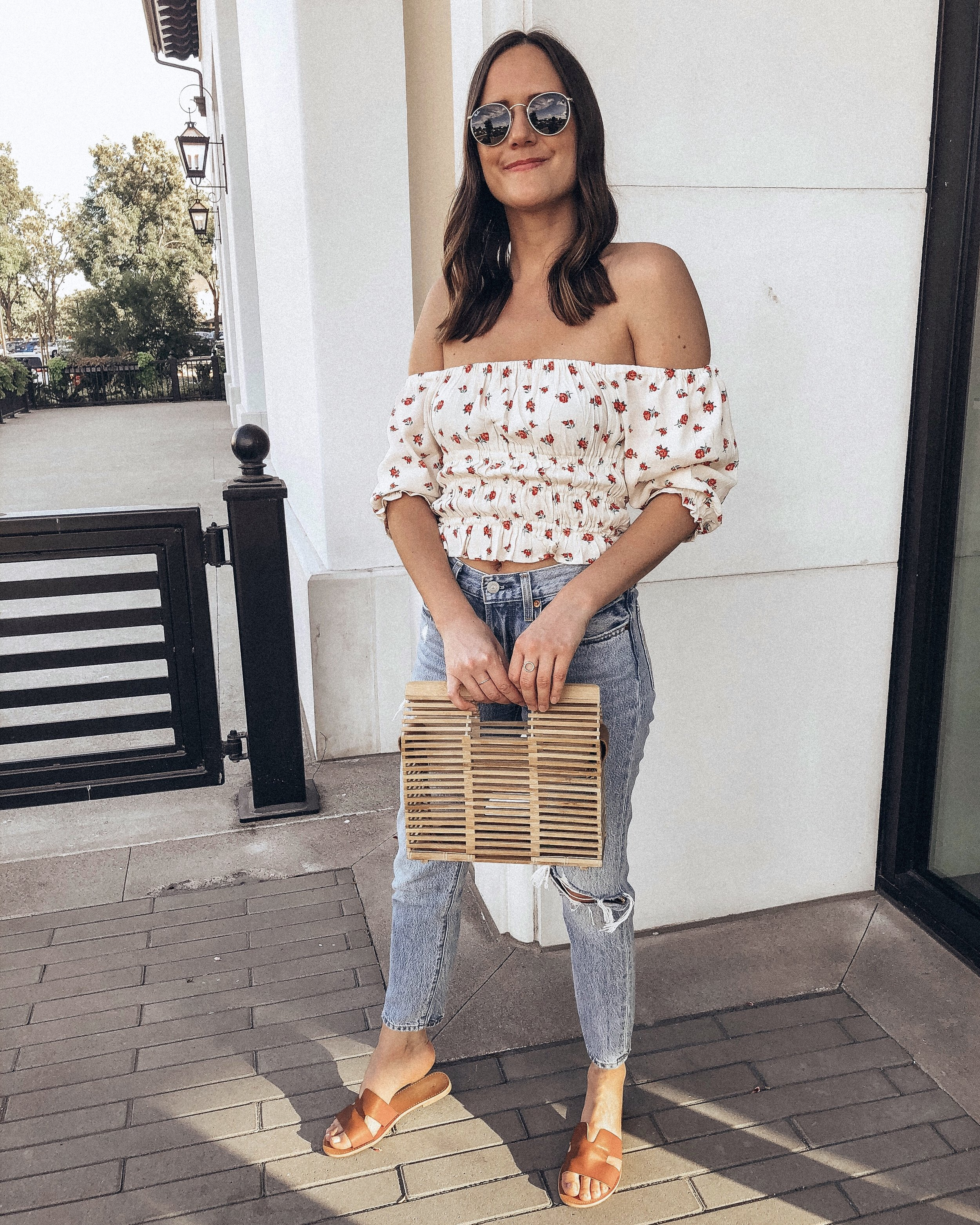Outfit Details:  Vici Top  c/o | Levi's Jeans  HERE  and  HERE  |  Vici Sandals  c/o |  Vici Bag  c/o |  Ray-Ban Sunglasses  |  Madewell Circle Ring  |  Gorjana Ring