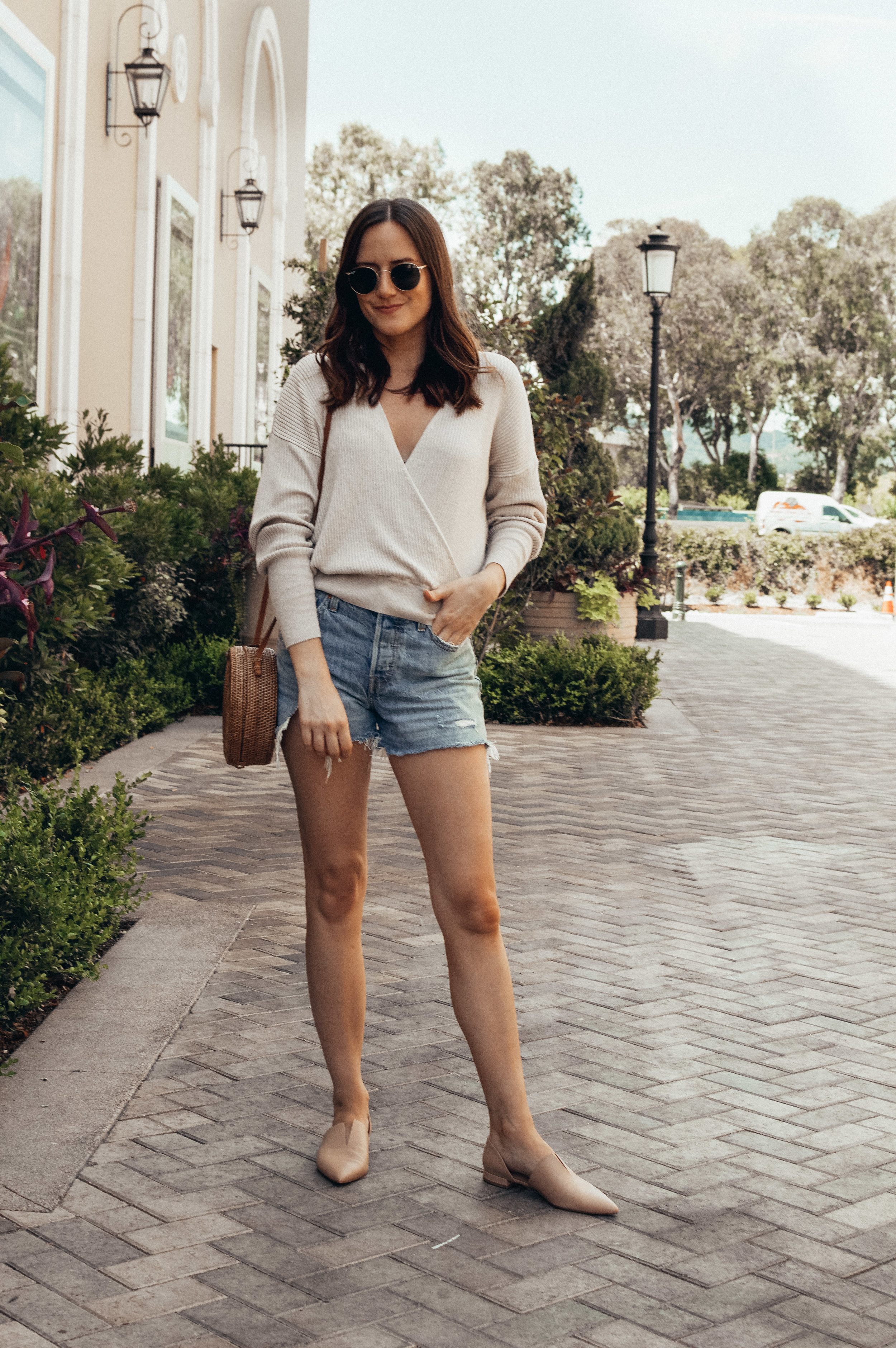 shorts and sweater outfit