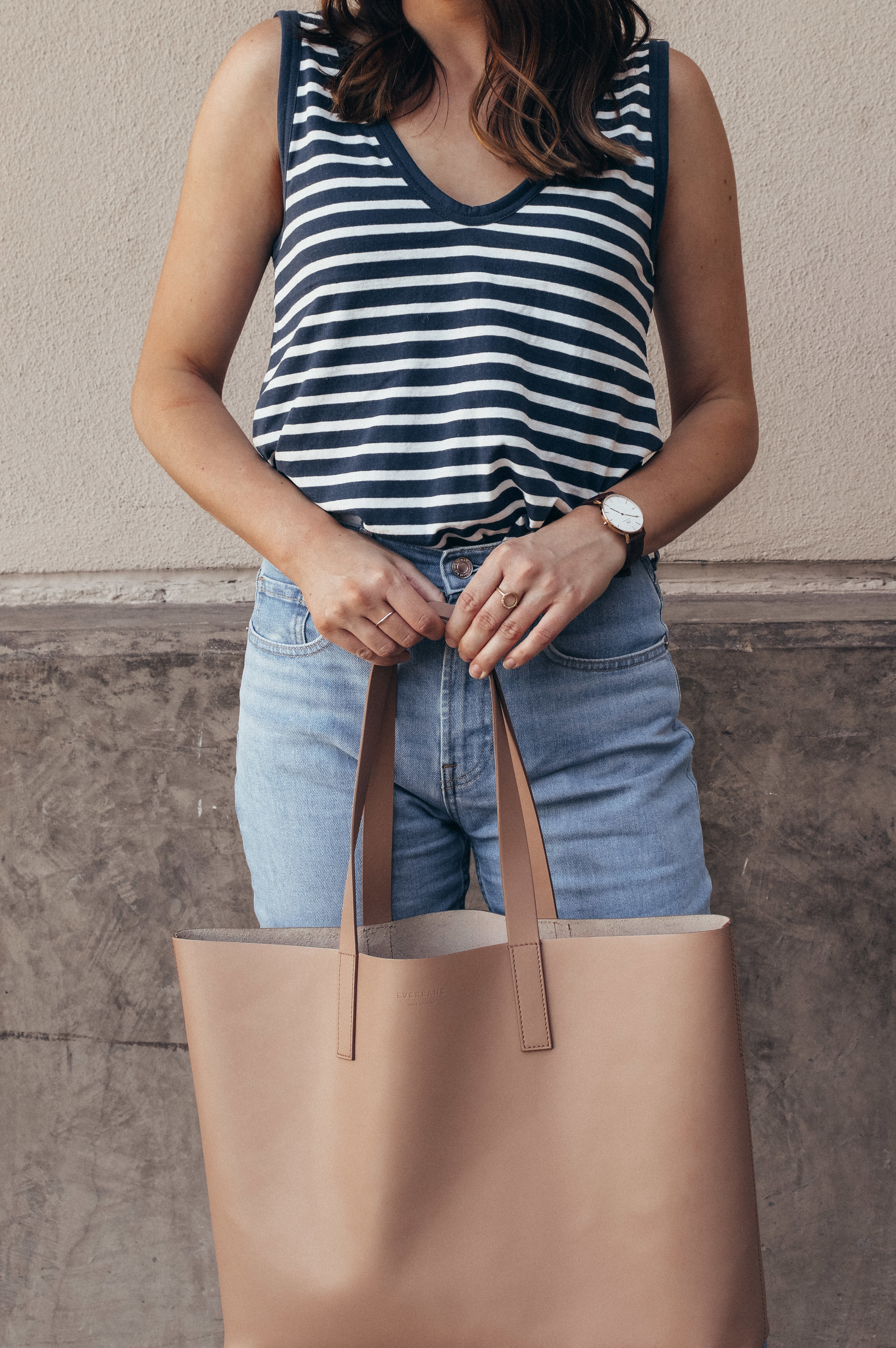 striped tank and jeans