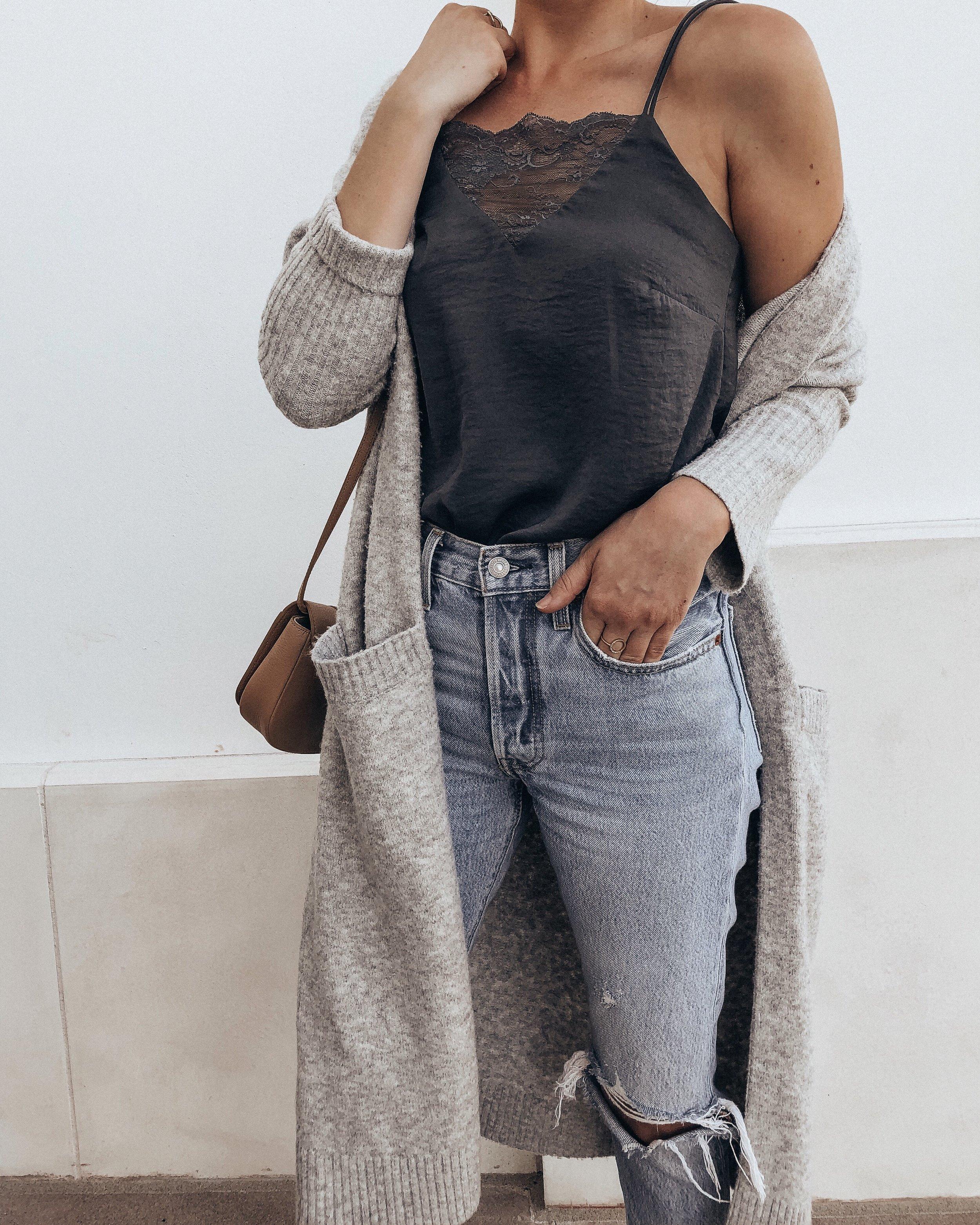grey duster cardigan