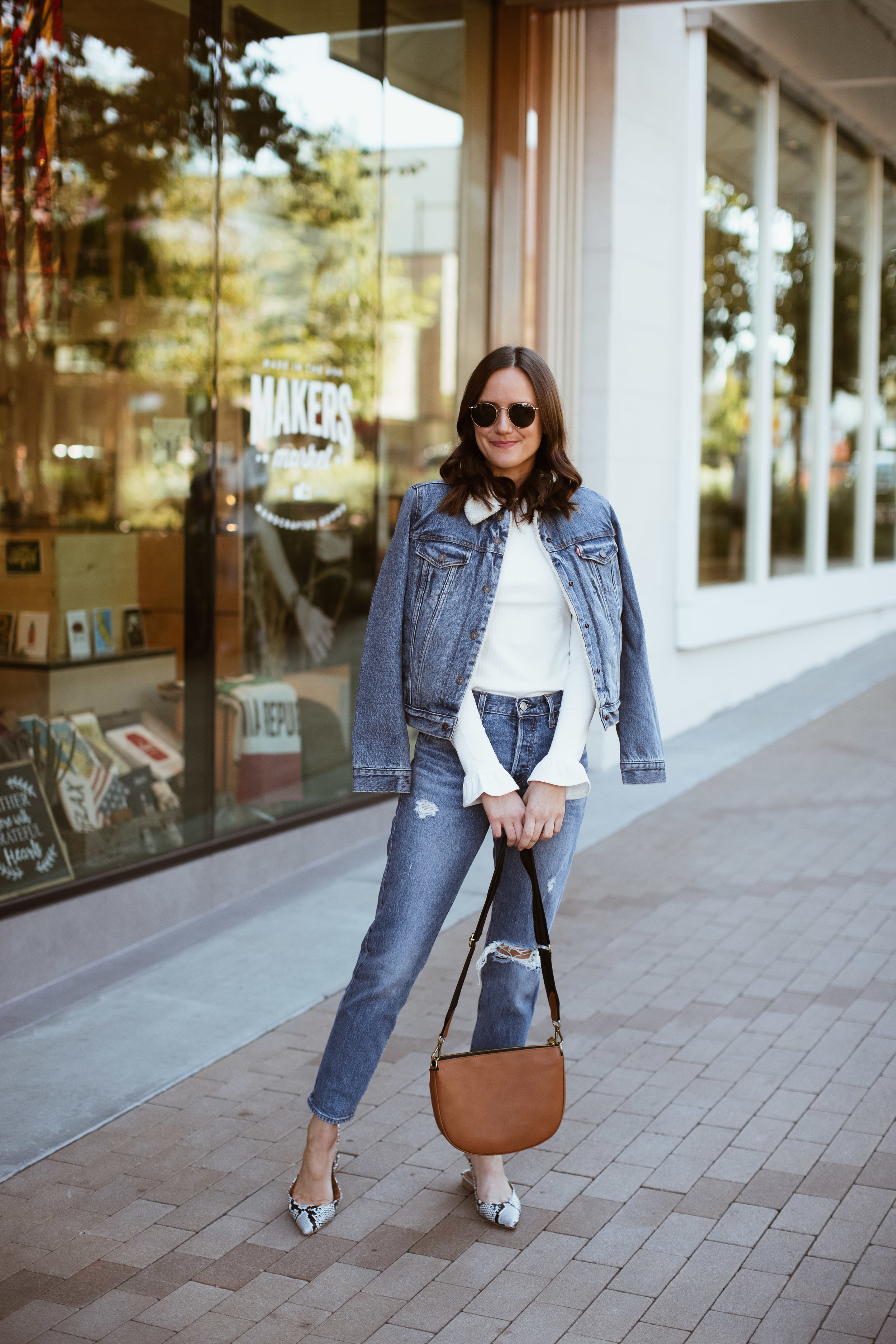 Shop the Look Below.  Levi's Top  |  Levi's Wedgie Jeans  |  Levi's Sherpa Jacket  |  Levi's Bag  |  Shopbop Shoes  |  Ray-Ban Sunglasses