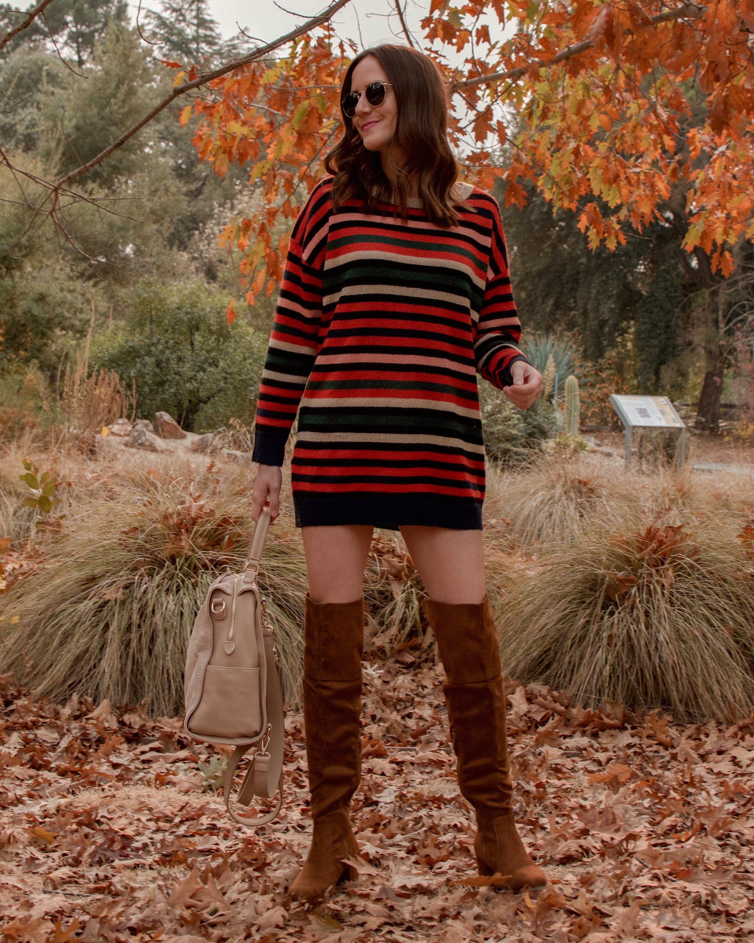 Shop the Look:  Vici Sweater Dress  c/o |  Vici Boots  c/o |  Vici Backpack  c/o |  Ray-Ban Sunglasses
