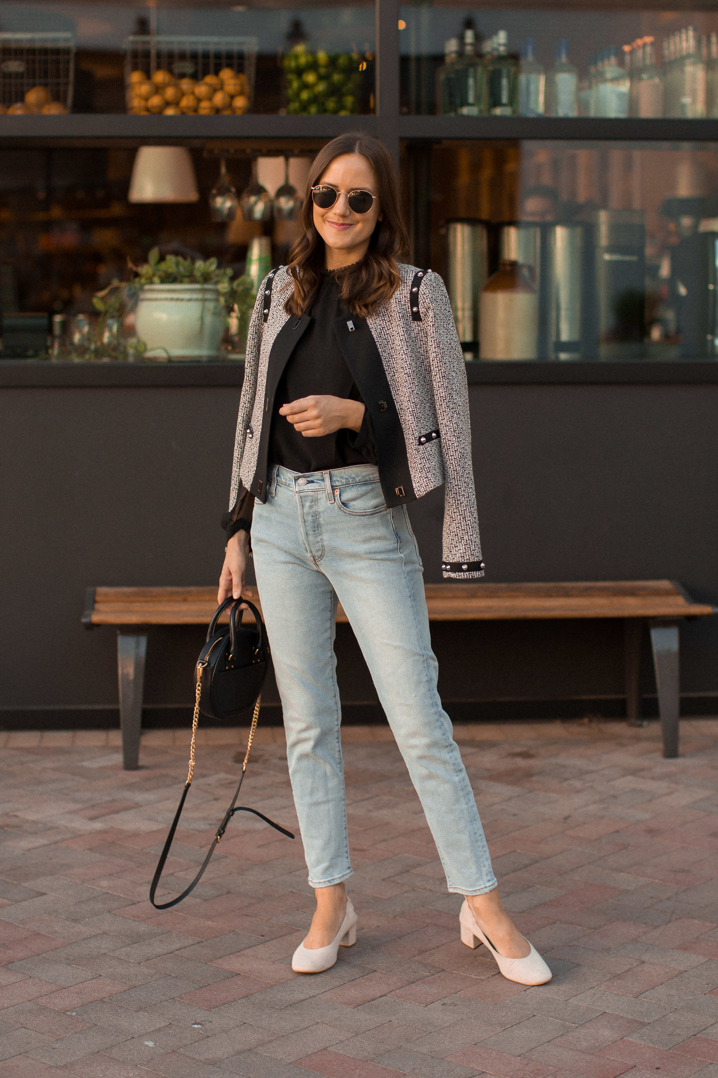 Shop the Look Below.  Adelyn Rae Top  c/o |  Adelyn Rae Jacket  c/o |  Levi's Jeans  |  Everlane Shoes  c/o |  Rebecca Minkoff Bag  |  Ray-Ban Sunglasses