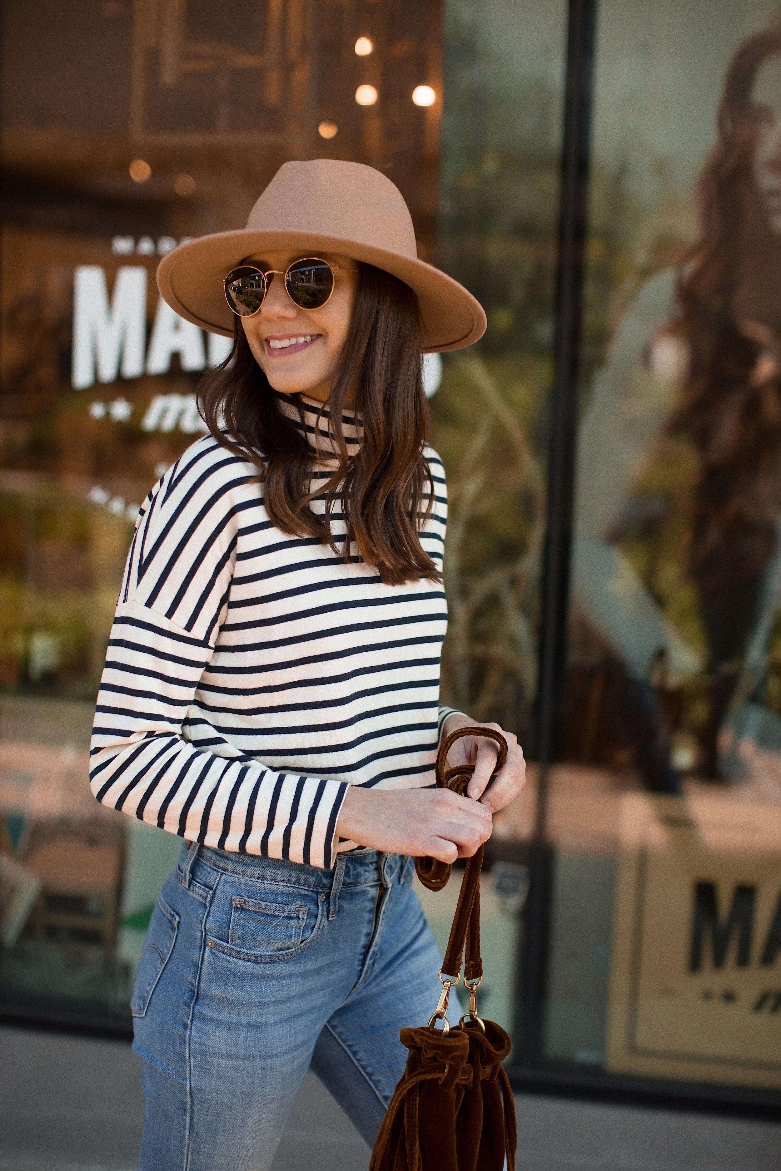 How to Wear a Striped Turtleneck | www.girlmeetsgold.com