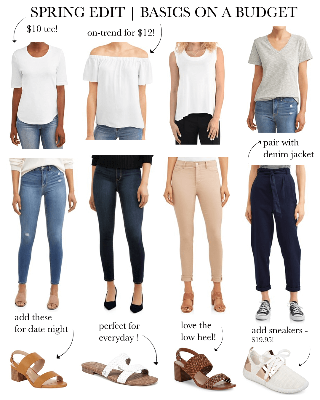 From Left to Right:  White Tee  |  Off-Shoulder Top  |  Tank  |  Grey Tee  |  Jeans  (same for all 3) |  Pants  |  Heels  |  Sandals  |  Heels  |  Sneakers