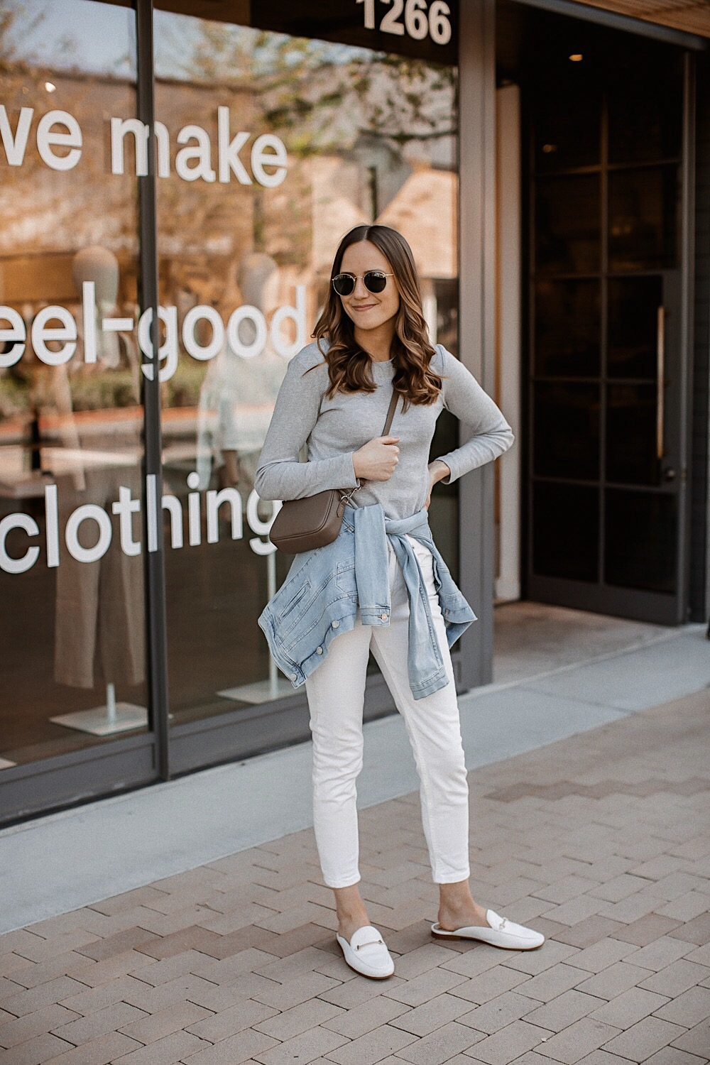 c5979b6bbbb White Jeans with Grey Tee and Denim Jacket
