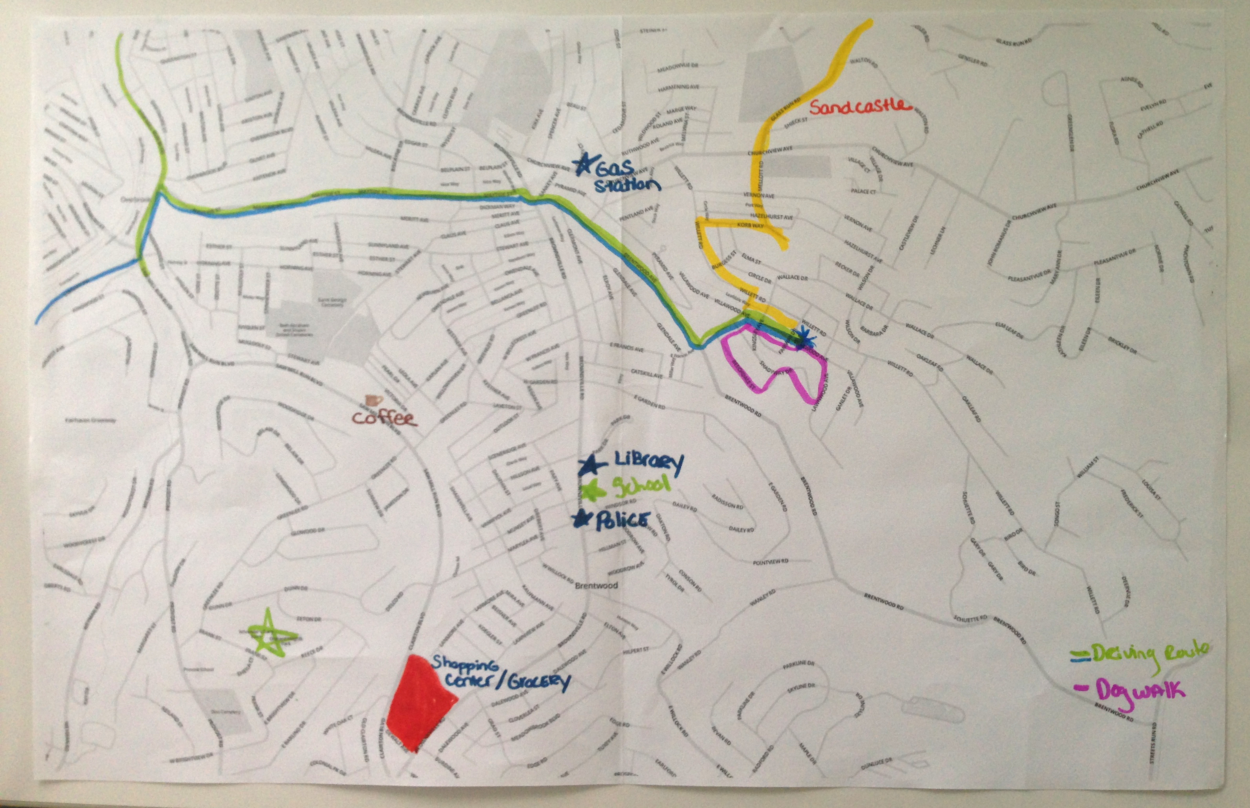 Neighborhood map drawn by an interviewee
