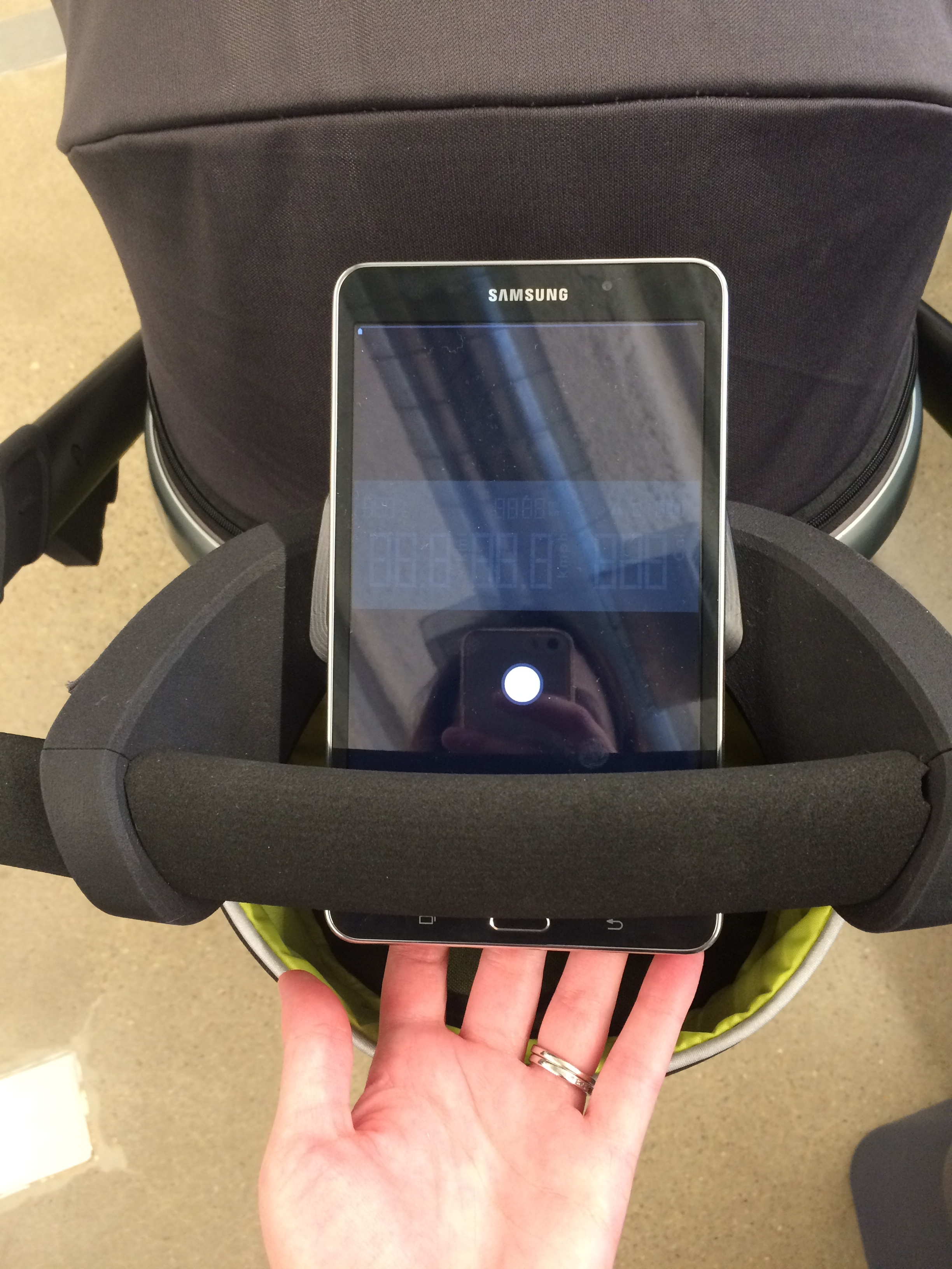Interactive mockup of the stroller LCD screen, running on an Android tablet