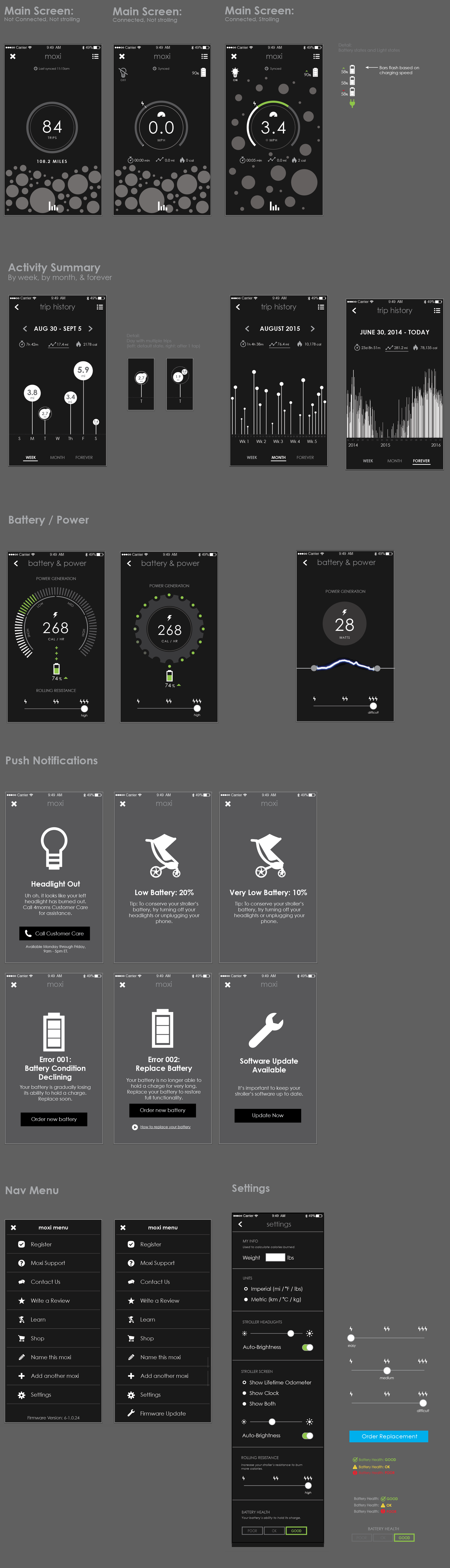 Moxi app wireframes, earlier explorations