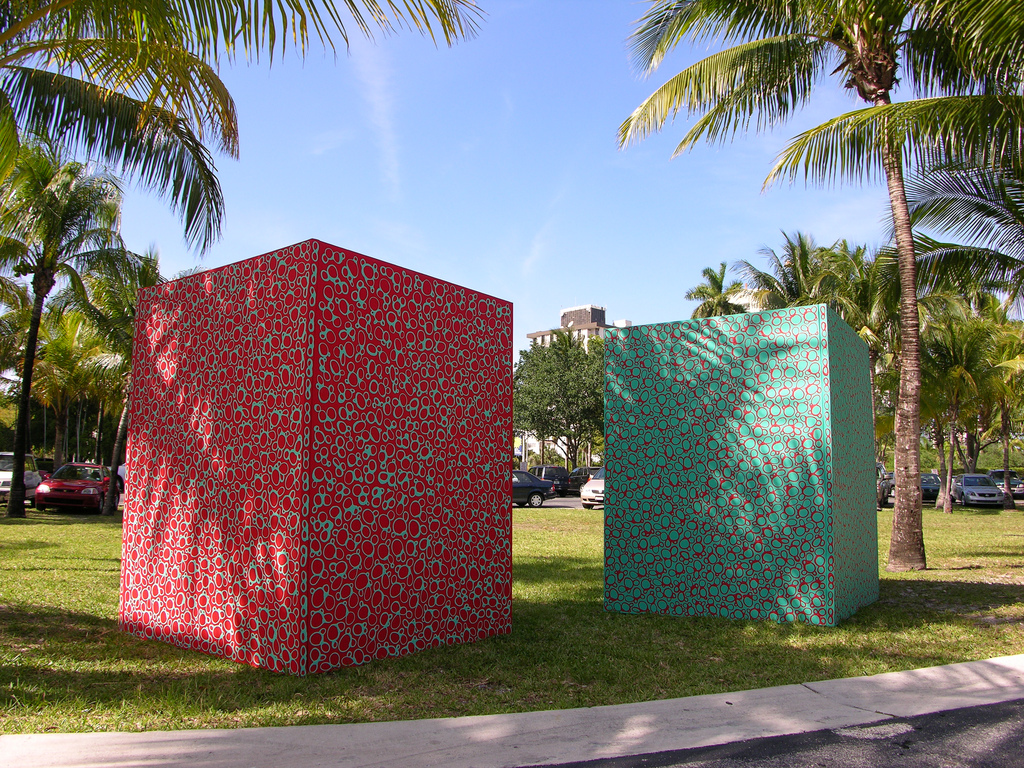 """Partial View of """"Wrapping Ying-Yang"""". Installation. Mixed media on canvas wrapping ticket box and columns."""