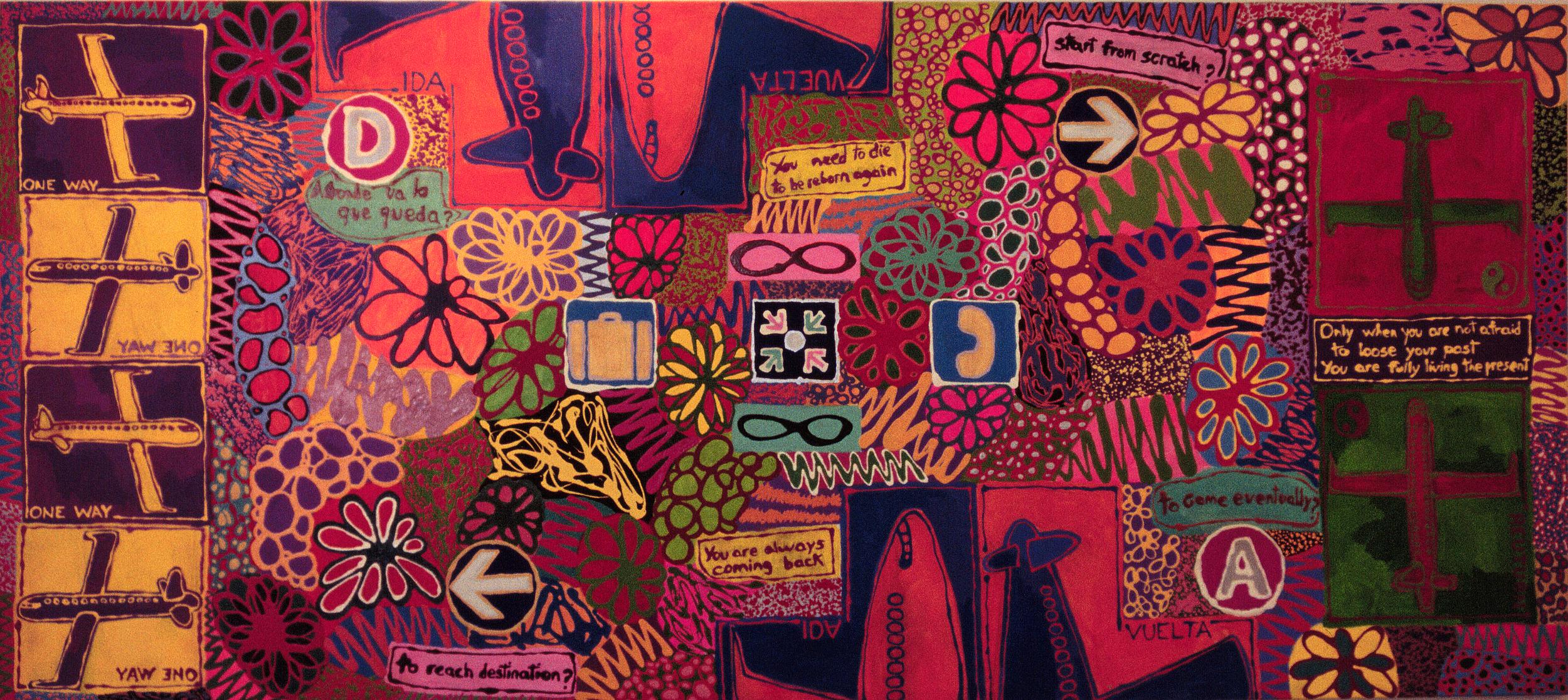 """The Journey"", 60 x 130 in / 152 x 330 cm, acrylic & enamel on canvas, Art Center South Florida, ""Departures & Arrivals"", April 1999"