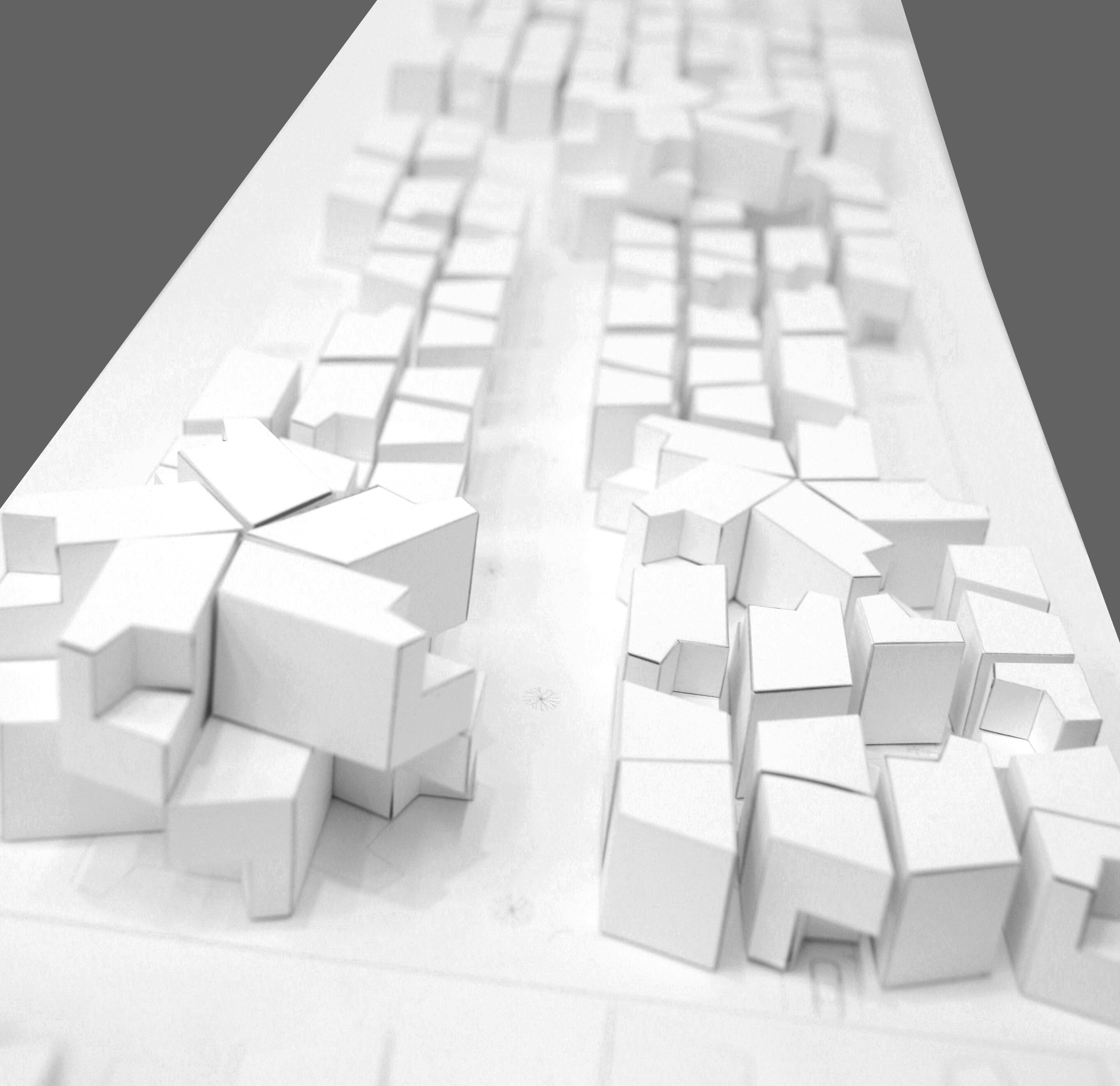 The physical model was built entirely from bristol paper. Patterns were laser-cut, then folded to create the two distinct shapes of a trapezoid and a parallelogram.