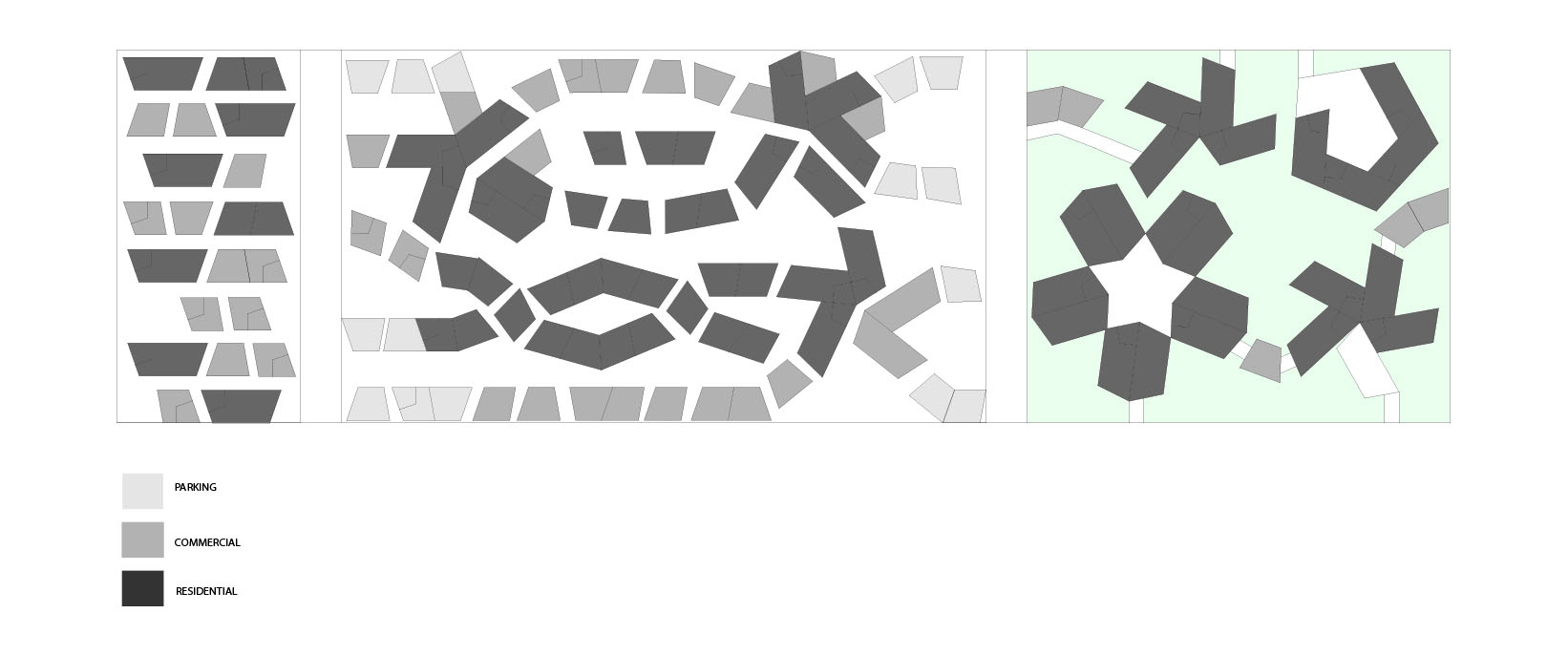 The first iteration of my site plan. The colors were intended to categorize each structure into parking, commercial or residential.