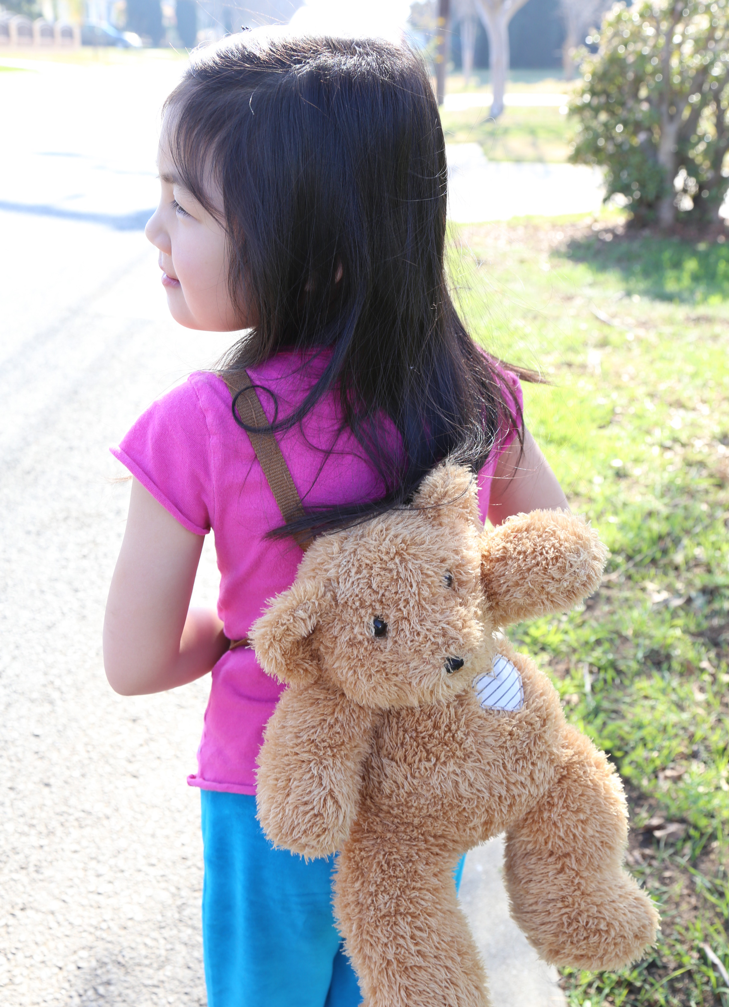 To make it easier for children to bring Beary along on their adventures, I also designed and created matching straps that allows Beary to be worn as a backpack.
