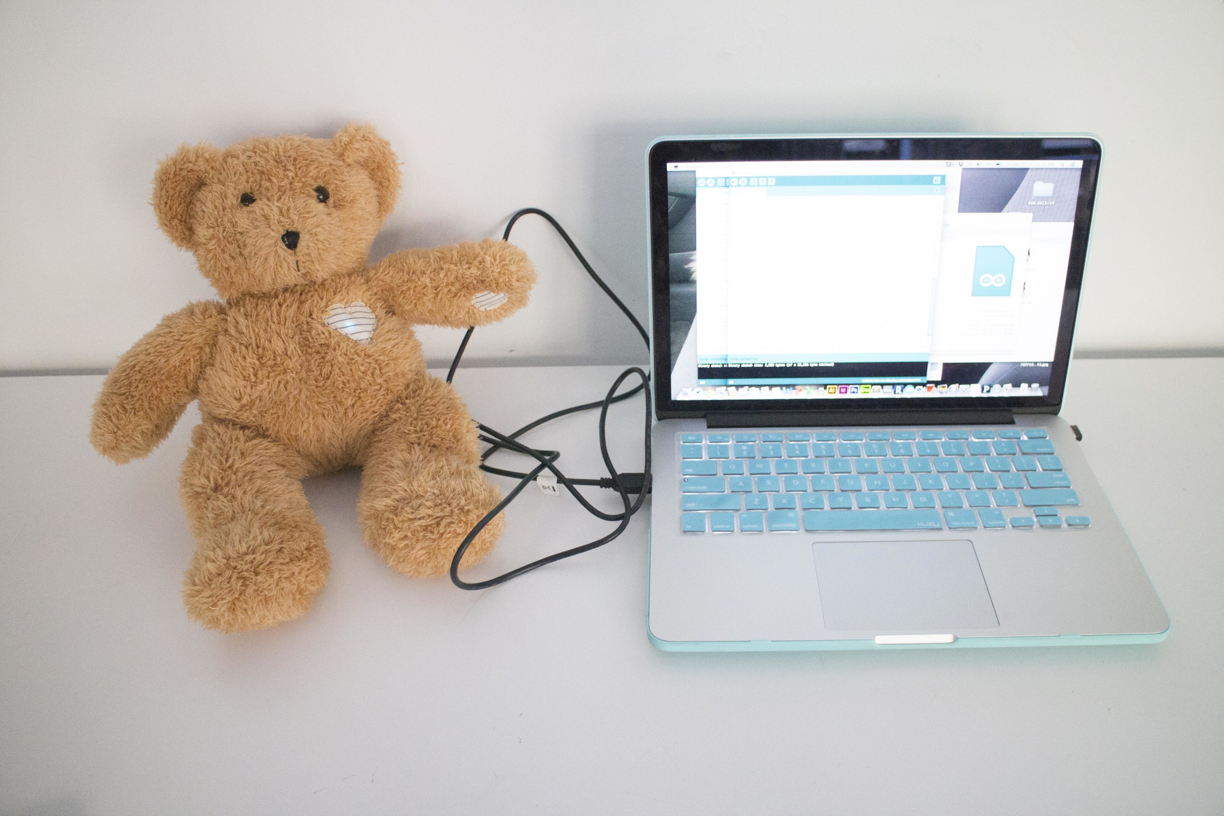 To observe and test the texting program as it runs, Beary needs to be connected to Arduino by USB cable (for now).