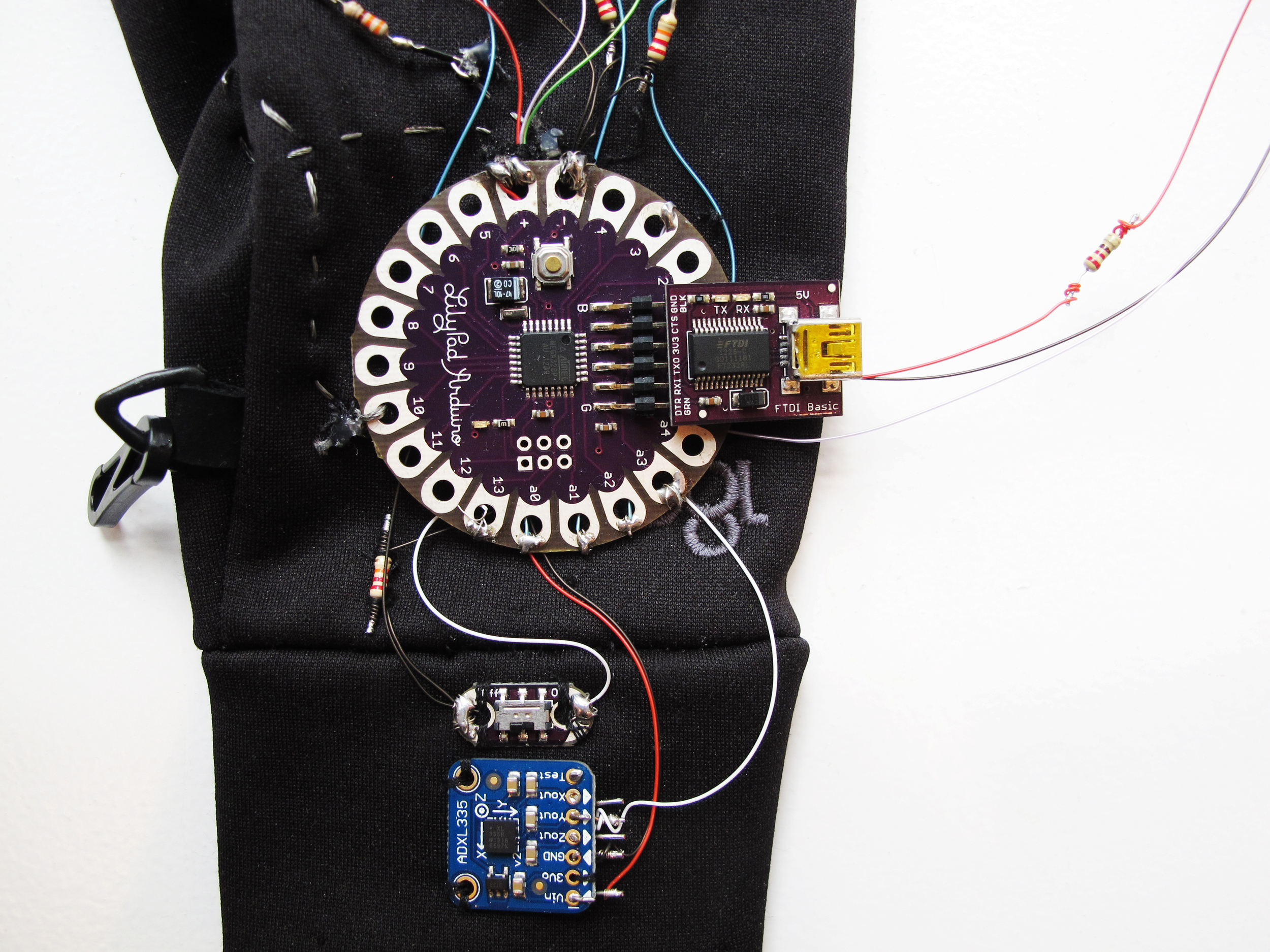 For circuit board, we used the Arduino Lilypad, which is designed for wearables.