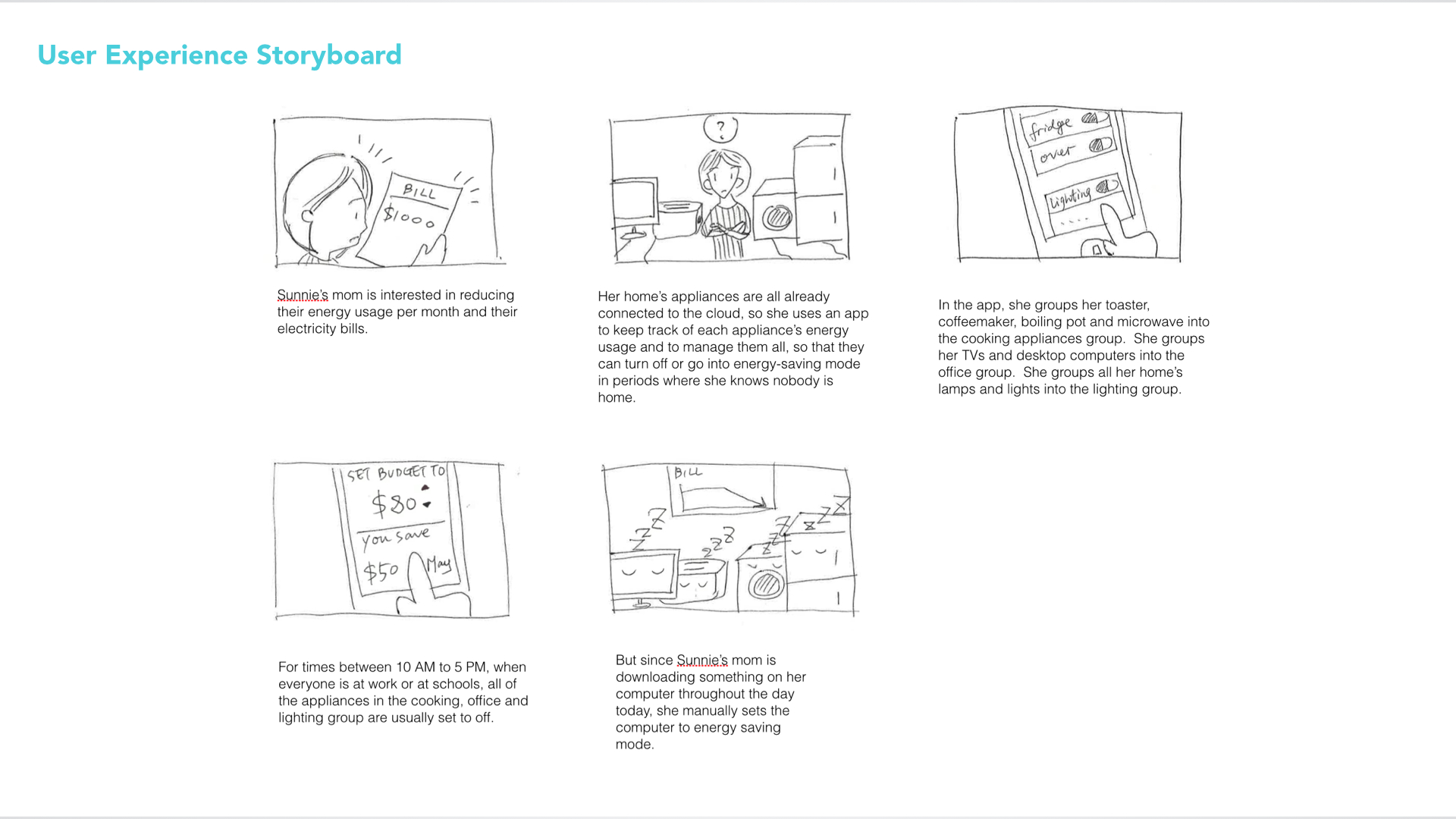 "At the beginning of our project, we explored various directions related to household informatics and data visualization.  This is one of 3 user experience storyboards we made and the last image of appliances ""sleeping"" is what ultimately inspired our idea for Zooly."